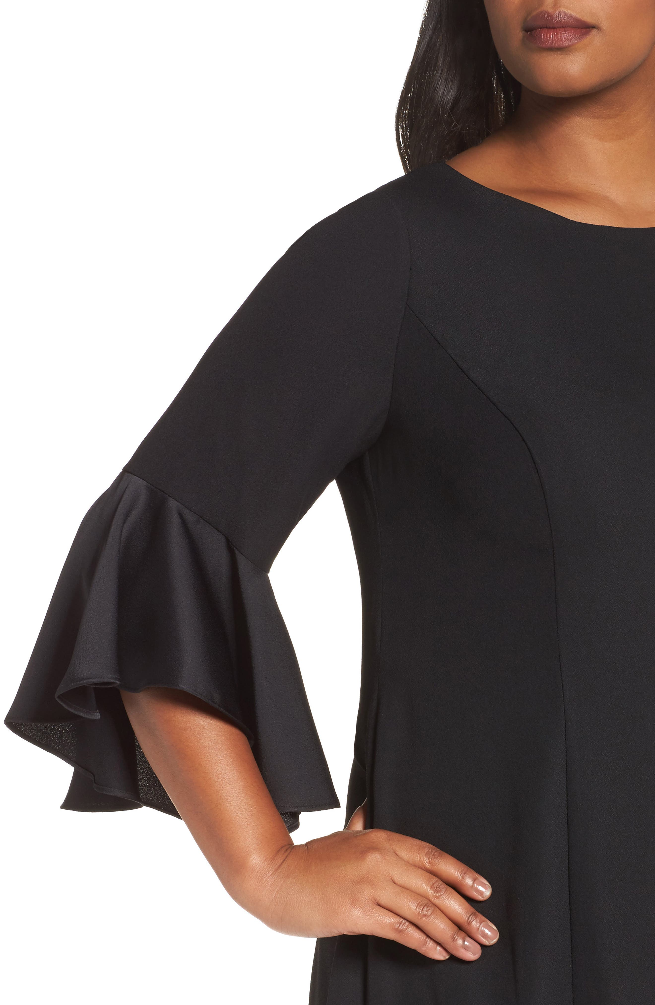 Bell Sleeve A-Line Dress,                             Alternate thumbnail 4, color,                             Black