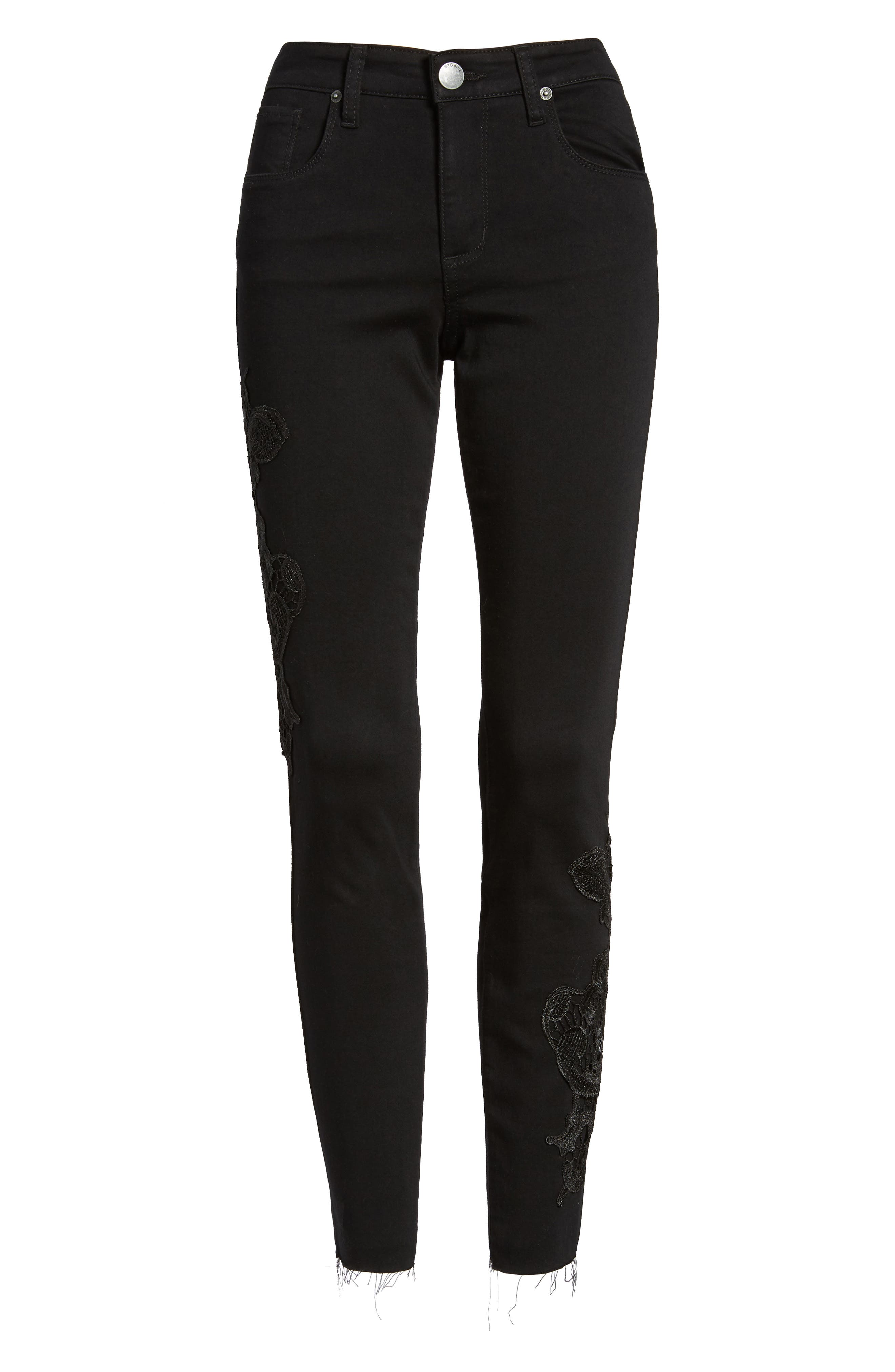 Alternate Image 6  - STS Blue Piper Lace Appliqué Skinny Ankle Jeans
