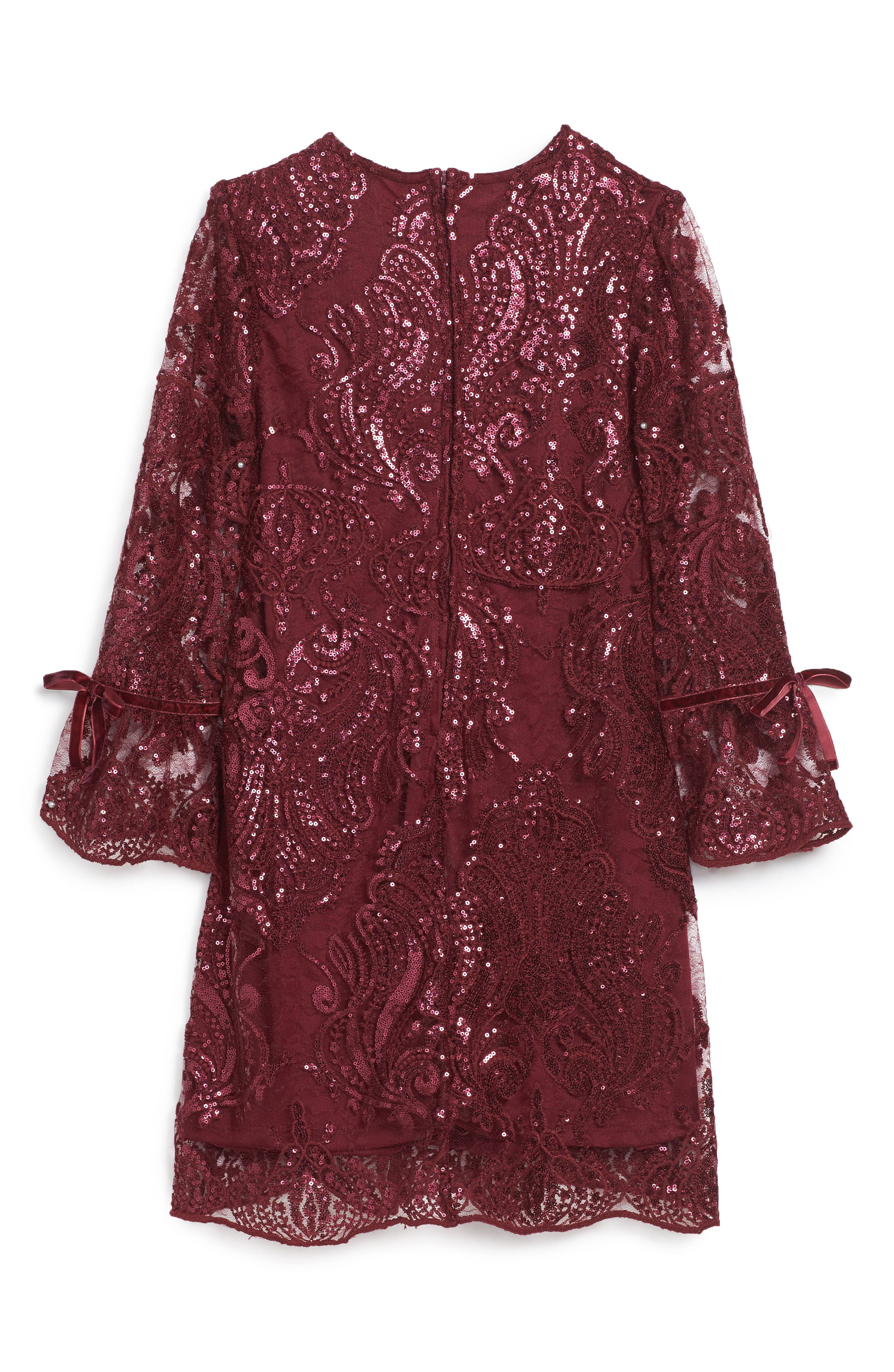 Alternate Image 2  - Trixxi Scalloped Sequin Embellished Shift Dress (Big Girls)
