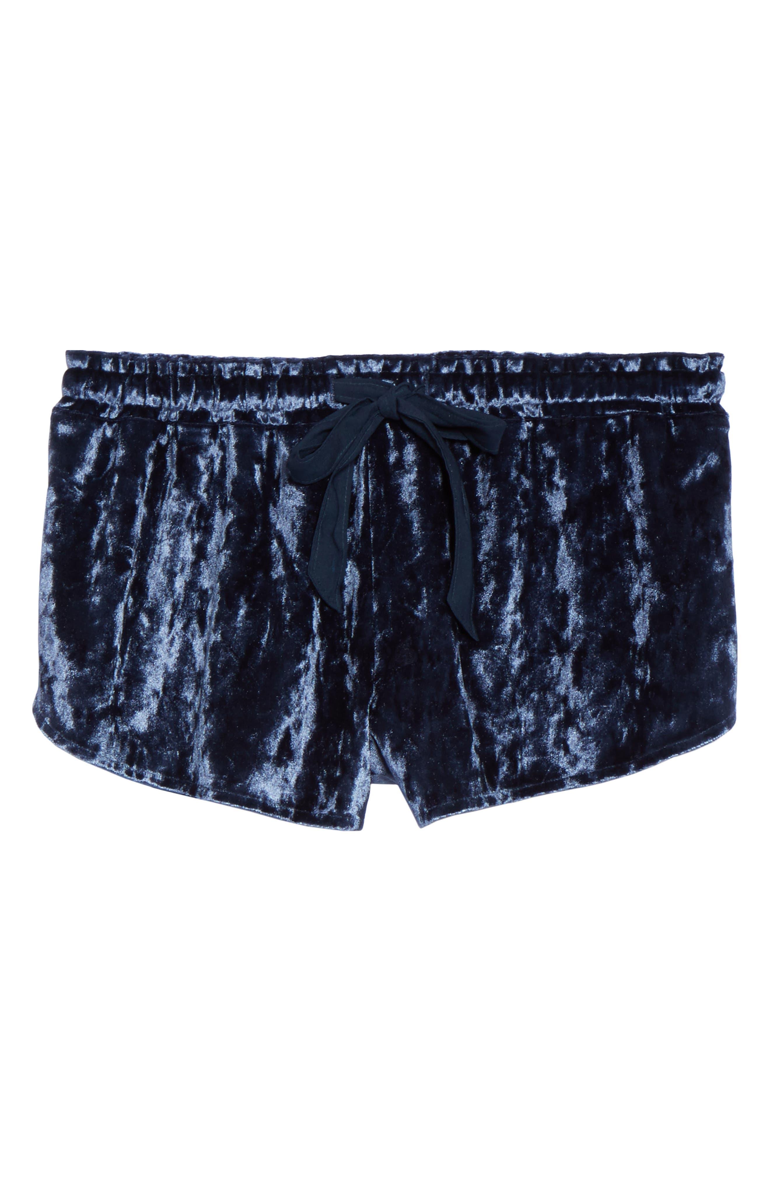 Starry Night Velvet Pajama Shorts,                             Alternate thumbnail 4, color,                             Navy Indigo