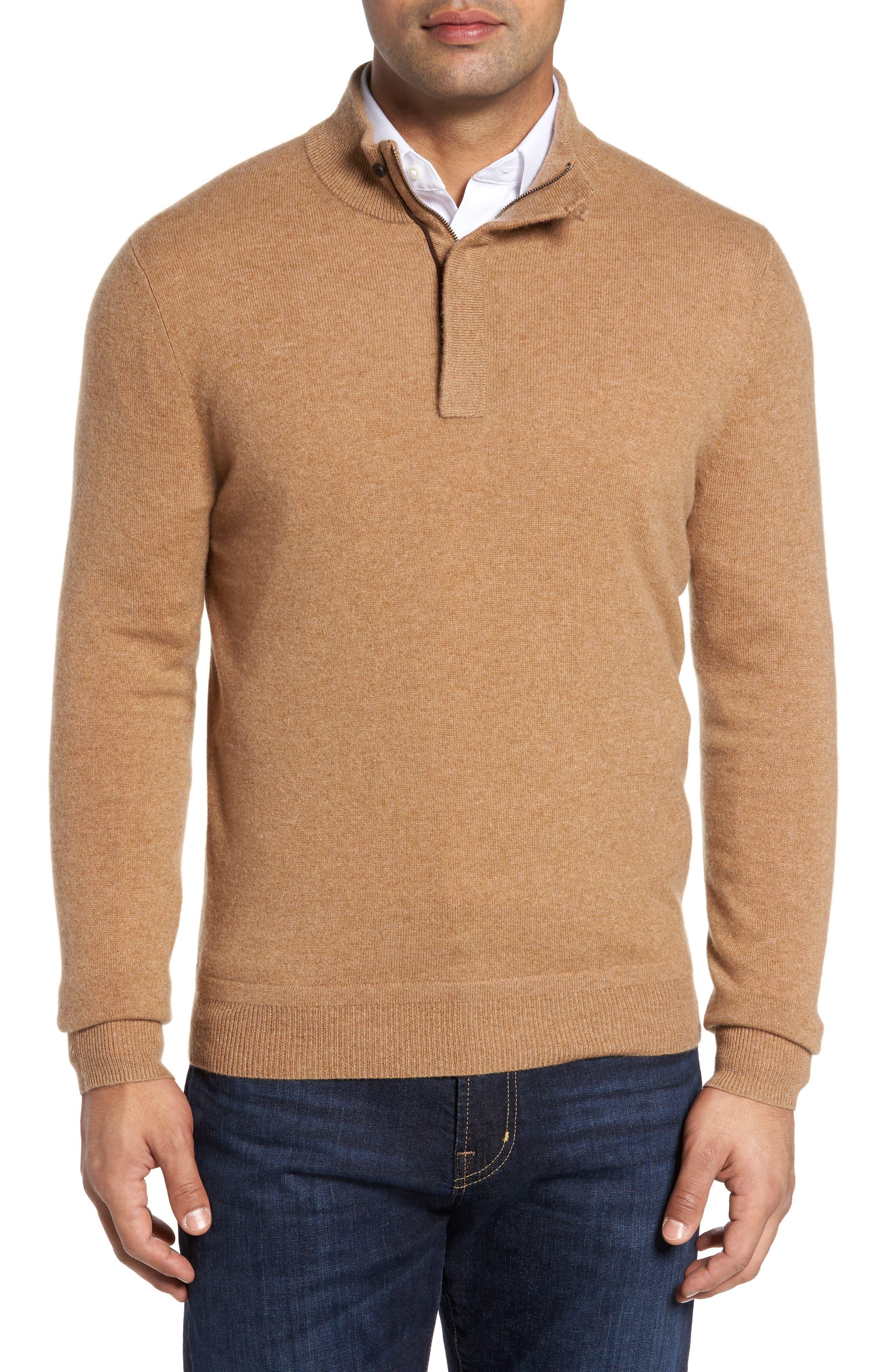 Cashmere Quarter Zip Sweater,                             Main thumbnail 1, color,                             Brown Bear