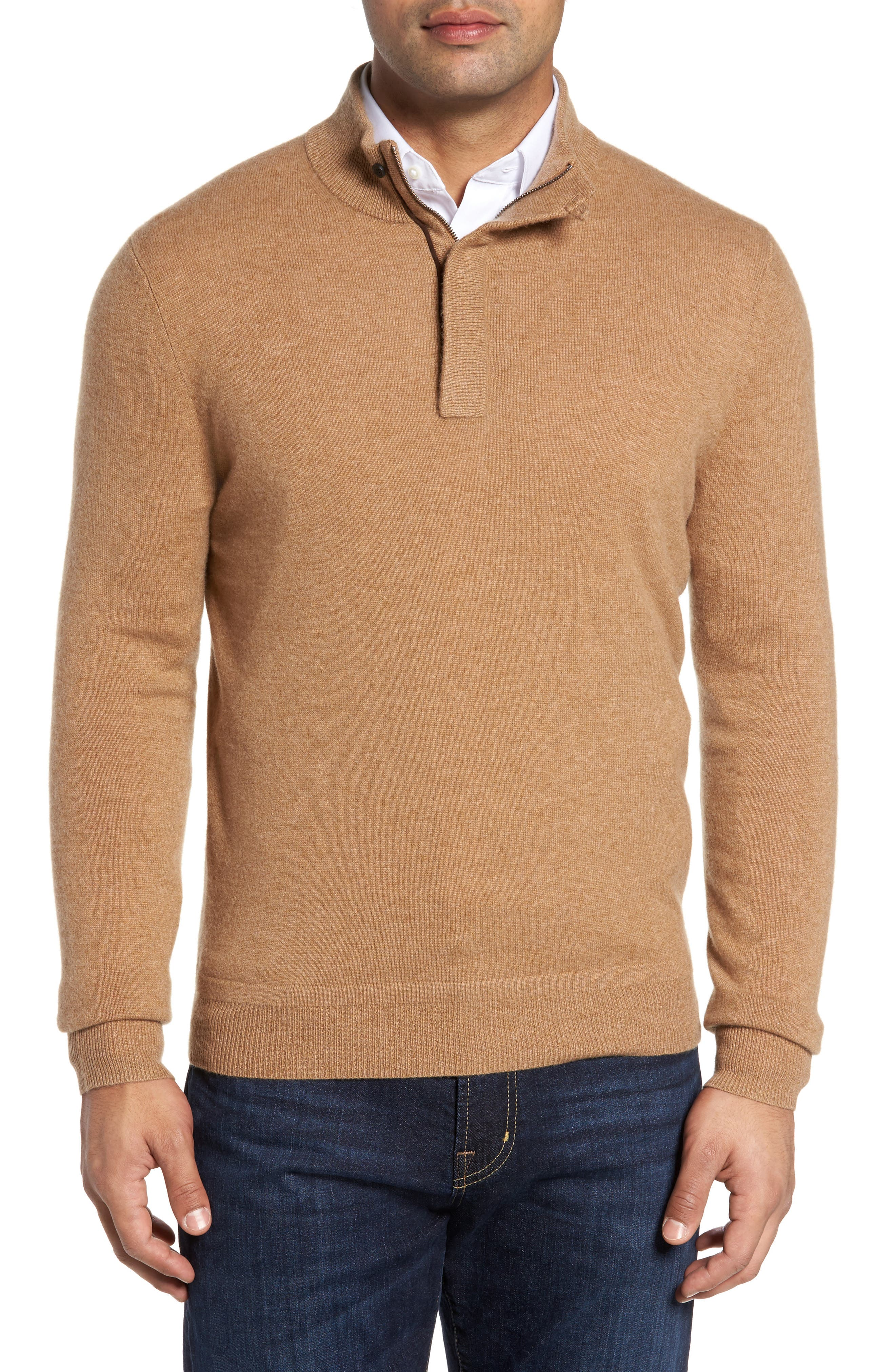 Cashmere Quarter Zip Sweater,                         Main,                         color, Brown Bear