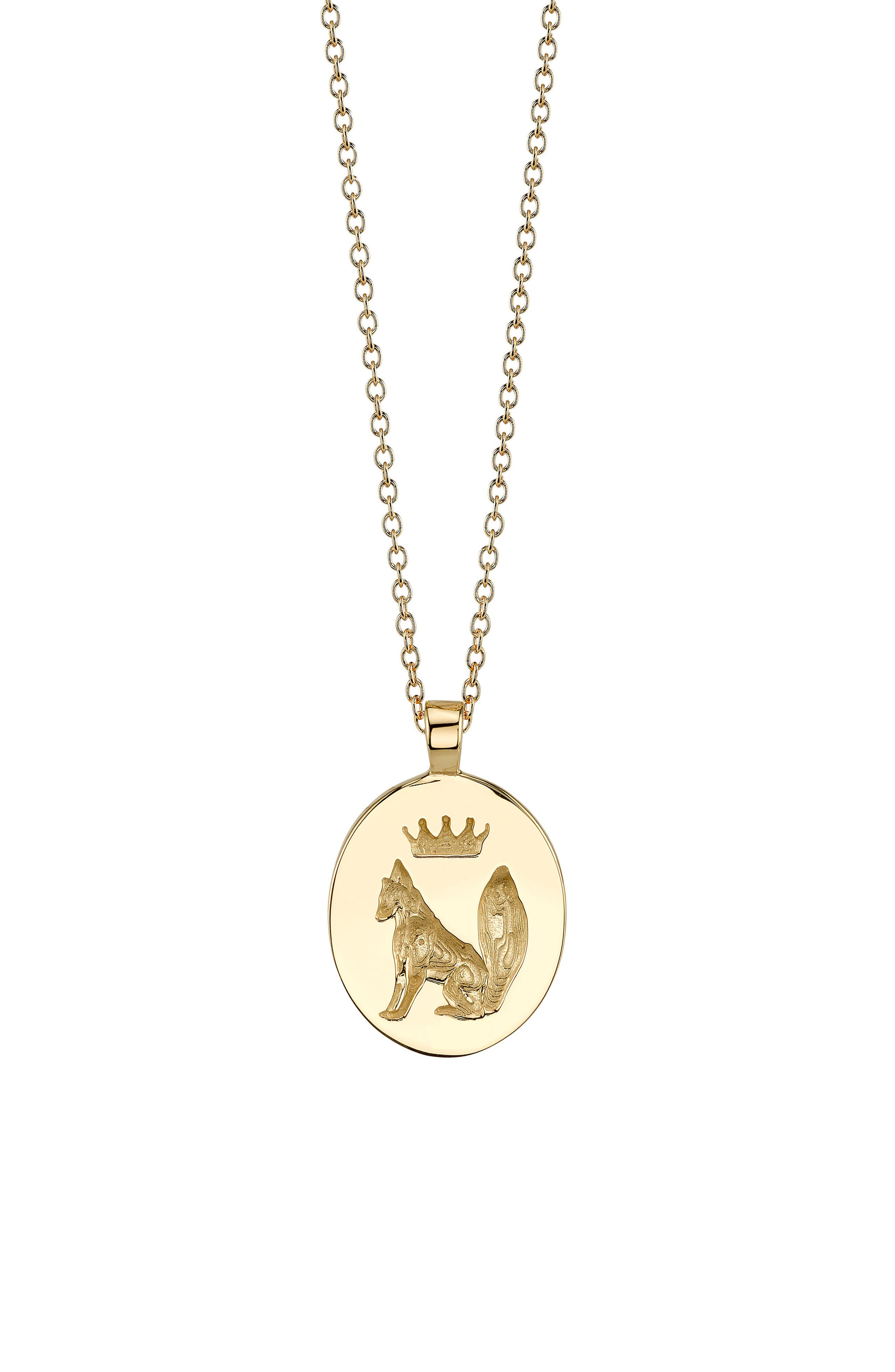 x Stone Fox Pendant Necklace,                         Main,                         color, Yellow Gold