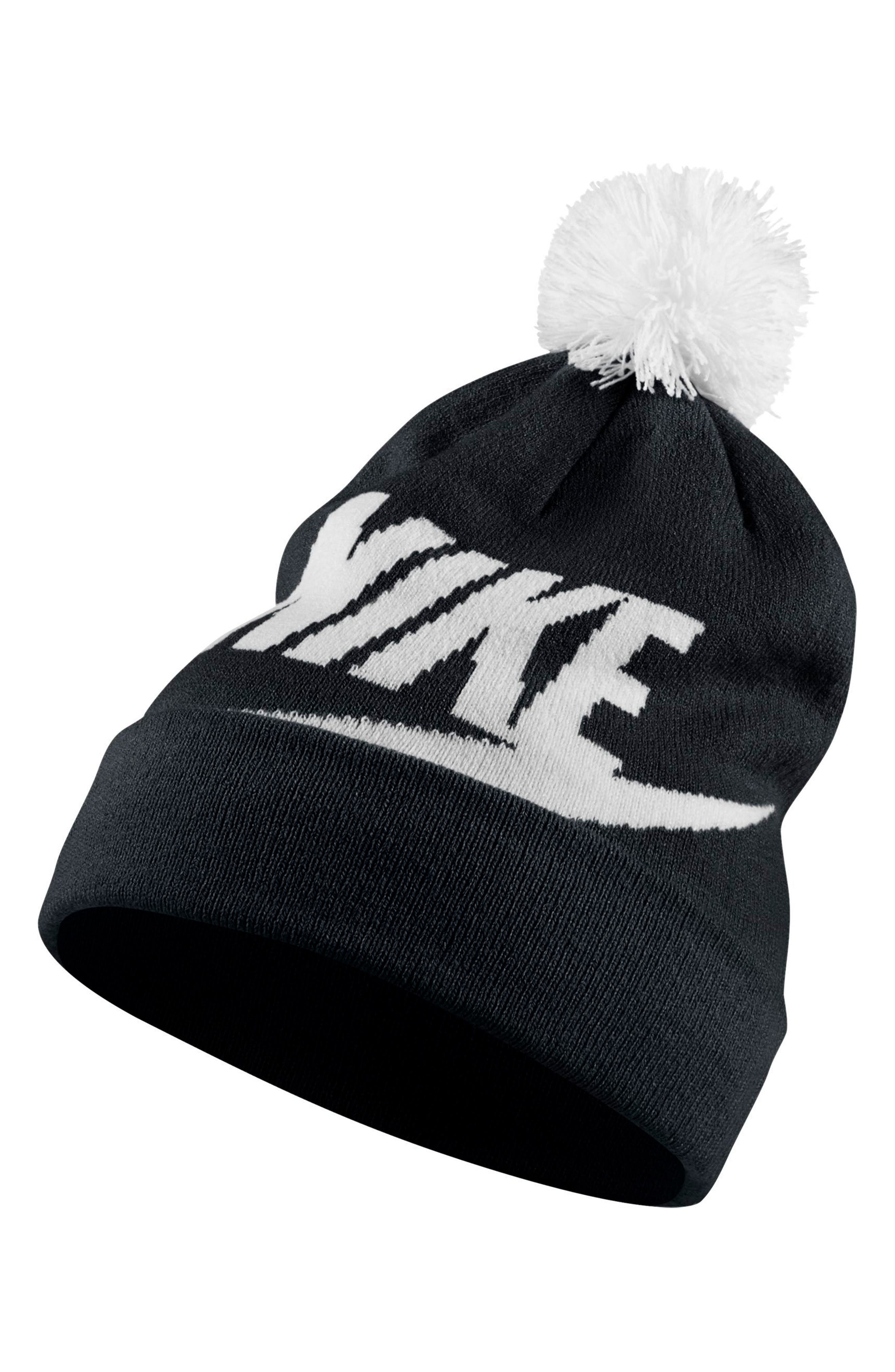 Sportswear Women's Beanie with Removable Pom,                         Main,                         color, Black/ White/ White