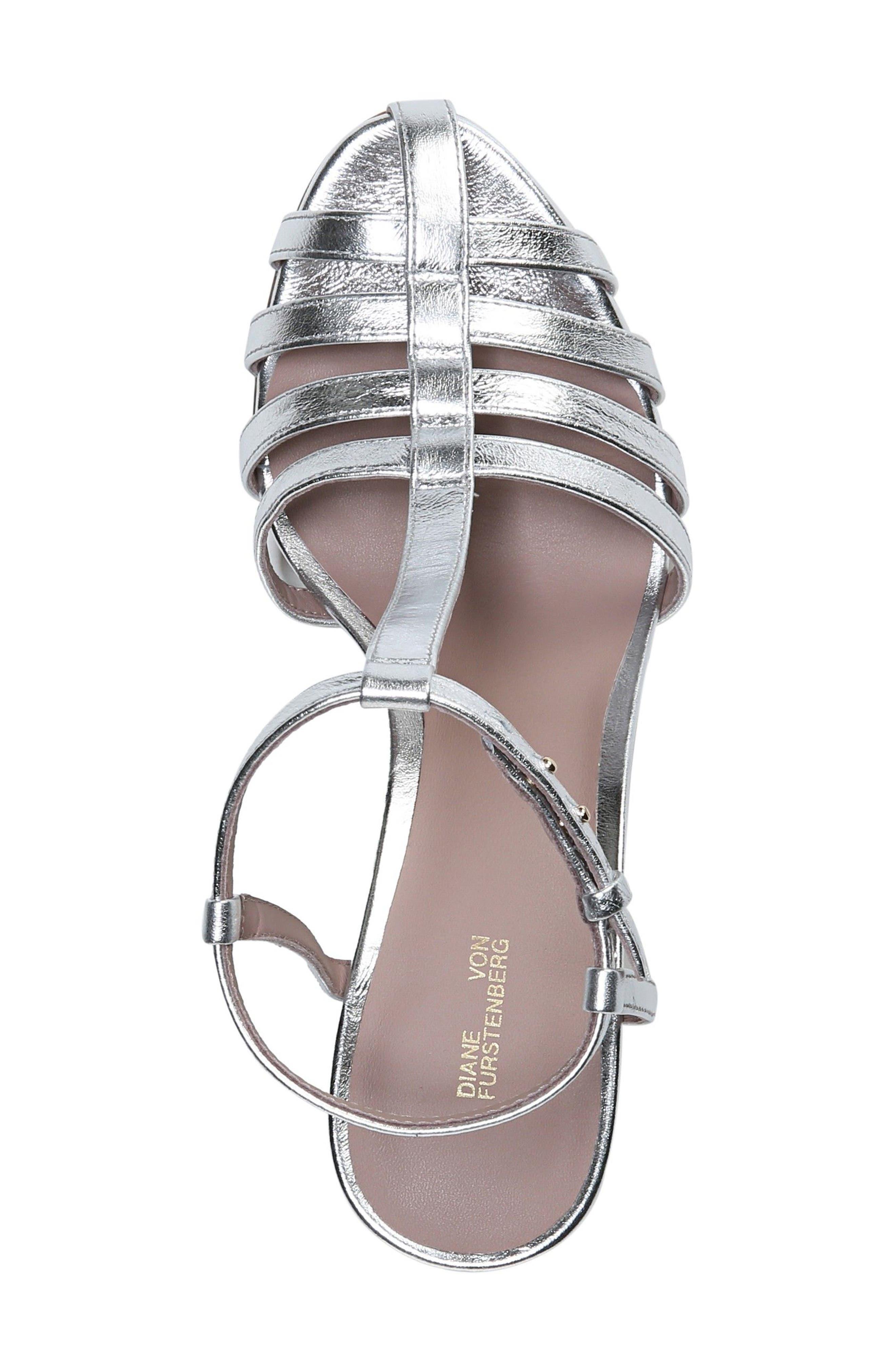 Eva T-Strap Sandal,                             Alternate thumbnail 5, color,                             Metallic Silver