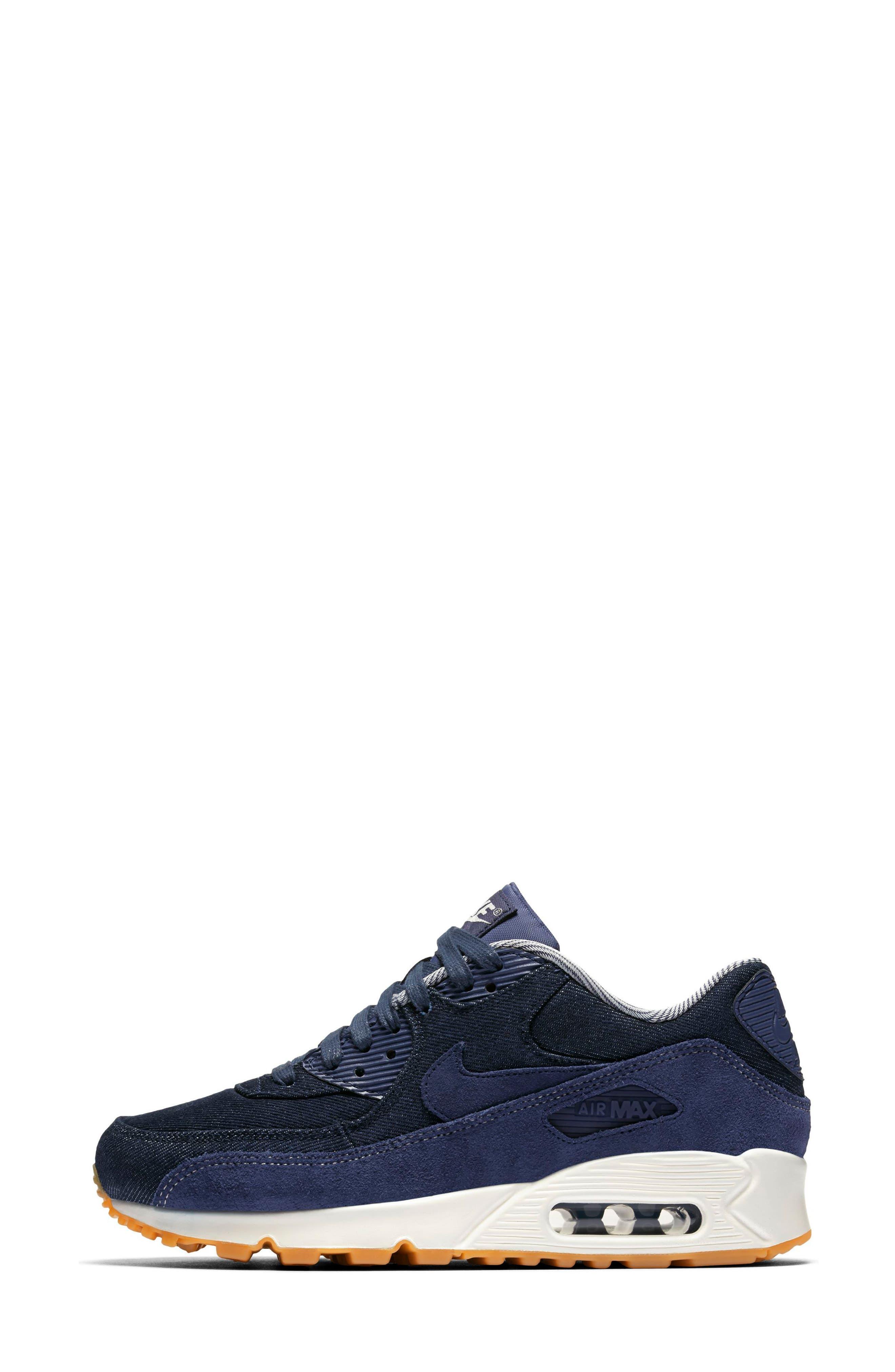 Air Max 90 SE Sneaker,                             Main thumbnail 1, color,                             Blue/ Muslin/ Sail/ Gum