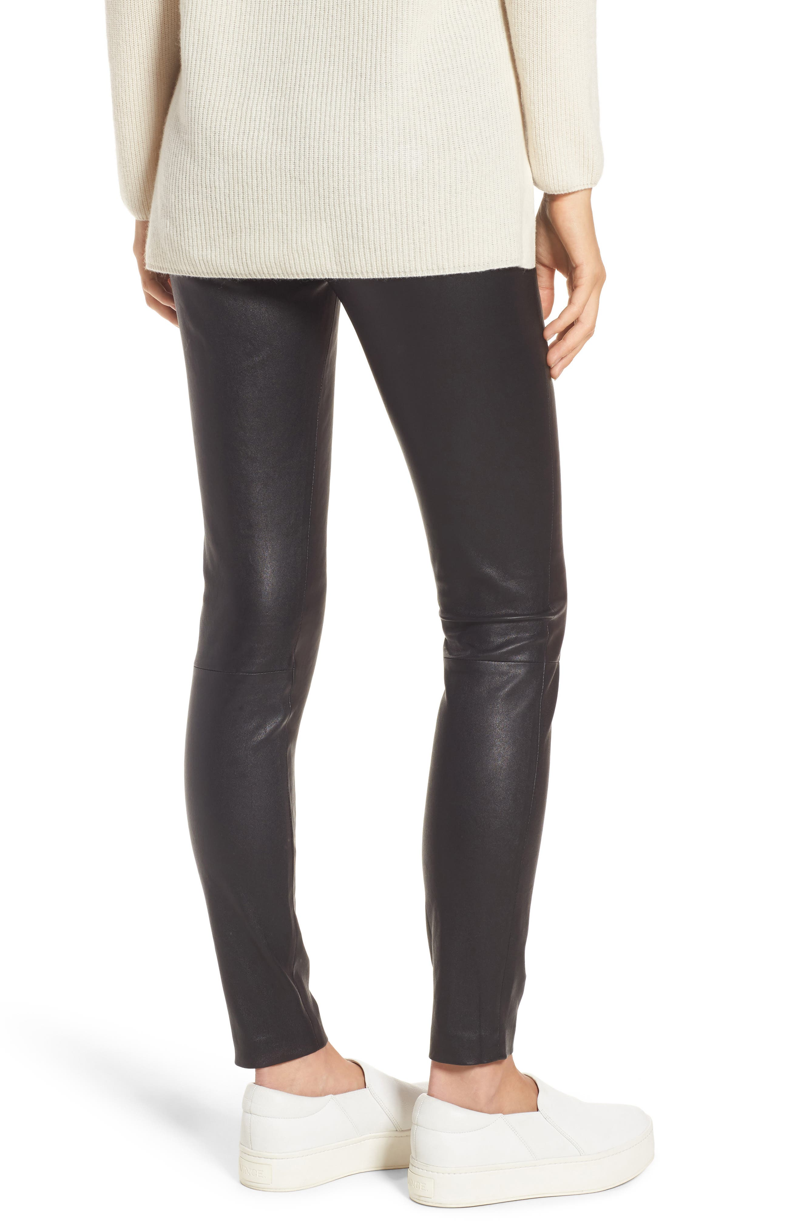 Stretch Leather Leggings,                             Alternate thumbnail 3, color,                             Black