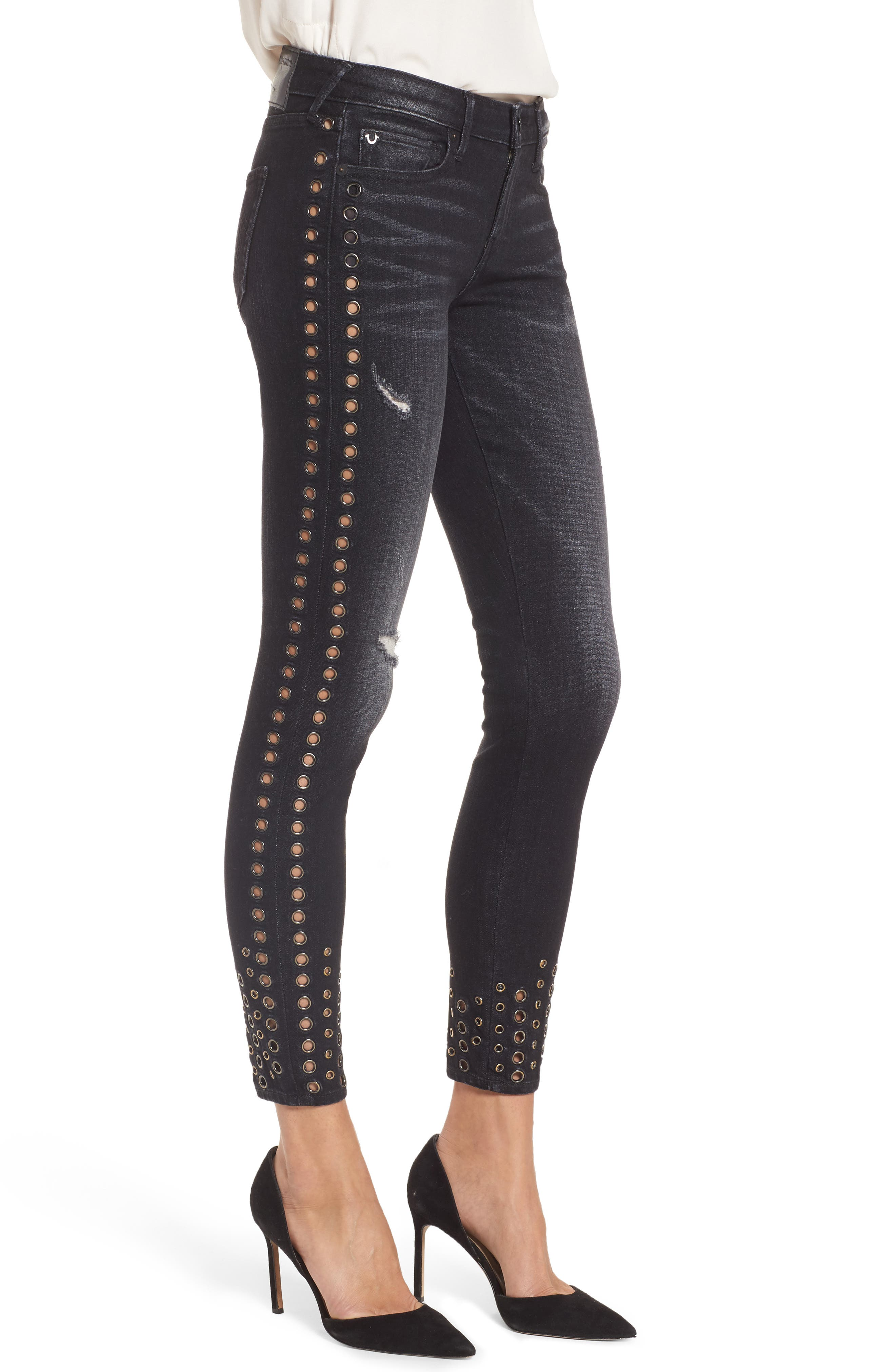 Halle Ankle Super Skinny Jeans,                             Alternate thumbnail 3, color,                             Rock Solid Wash