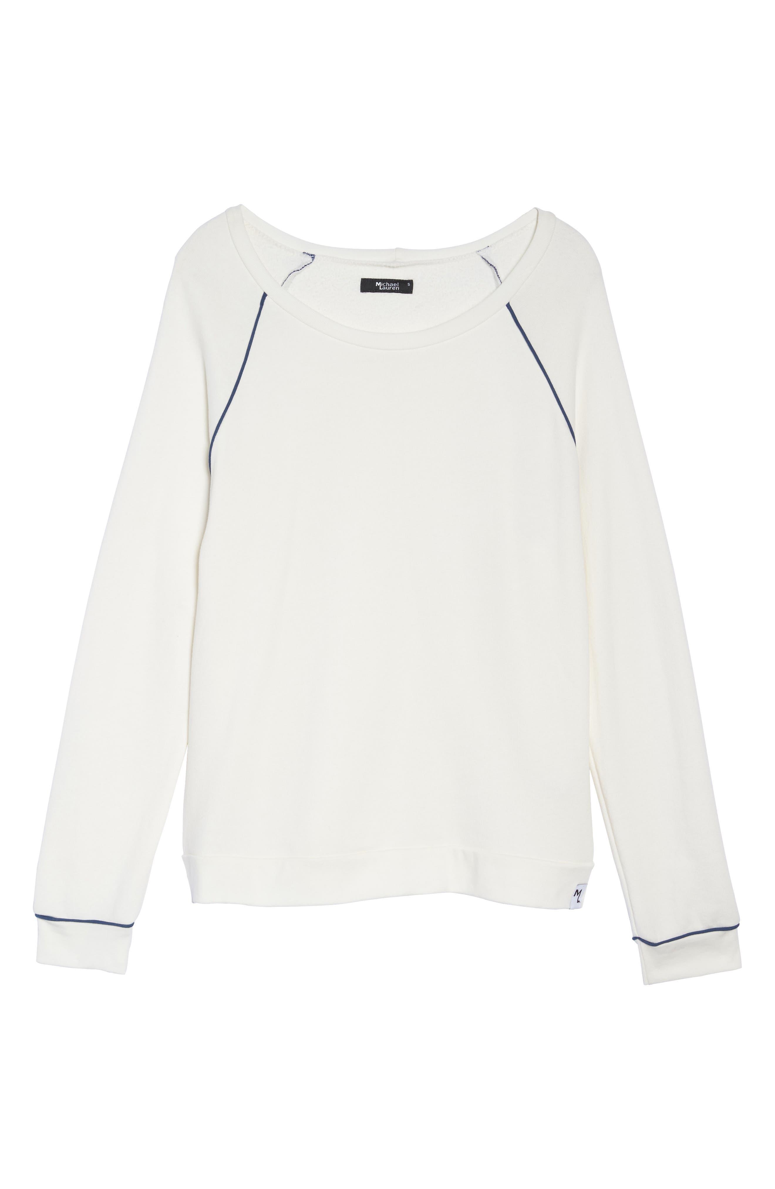 Juniper Lounge Sweatshirt,                             Alternate thumbnail 4, color,                             Milk/ Ink Blue
