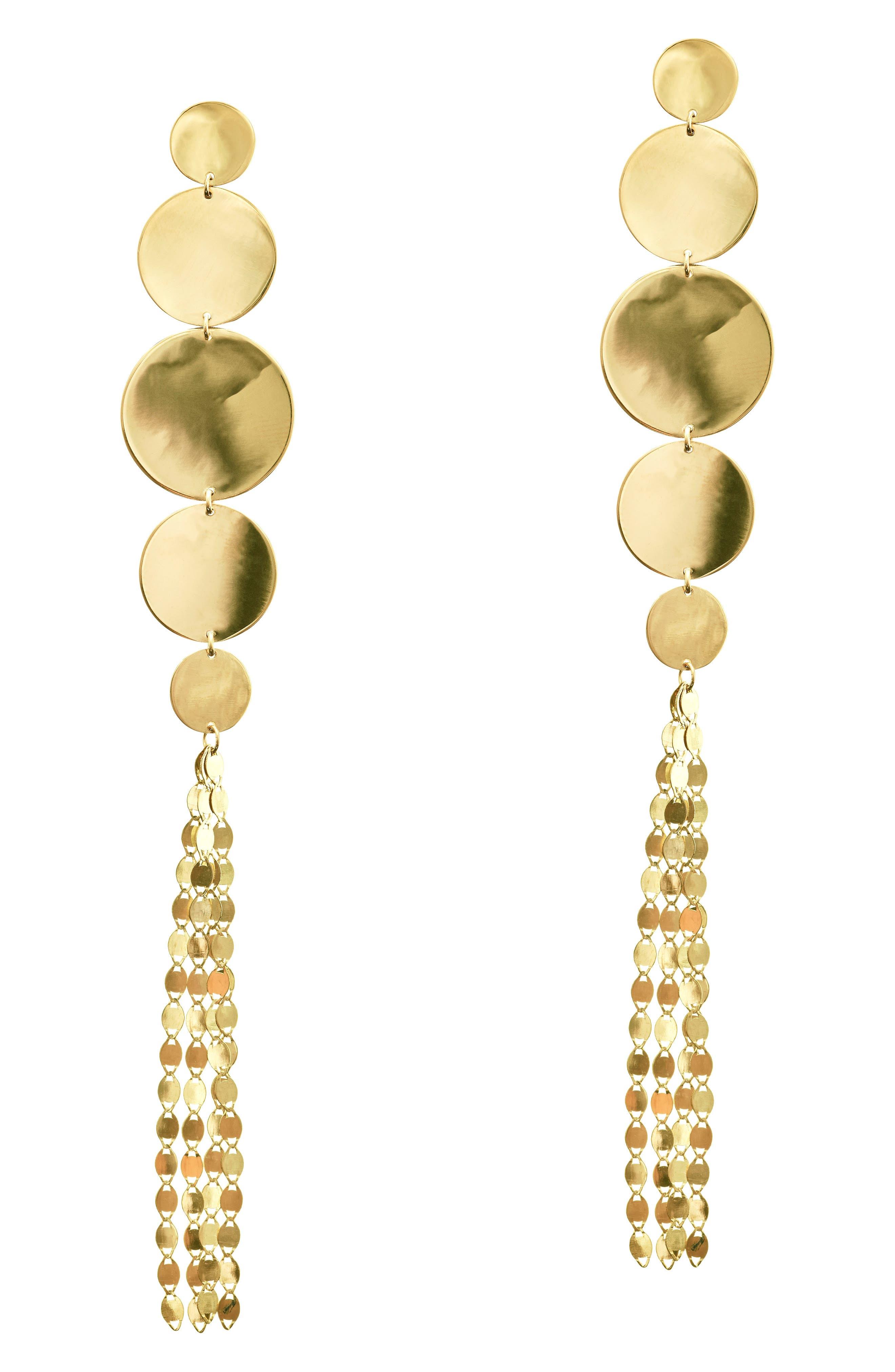 Lana Jewelry Disc Nude Long Drop Earrings