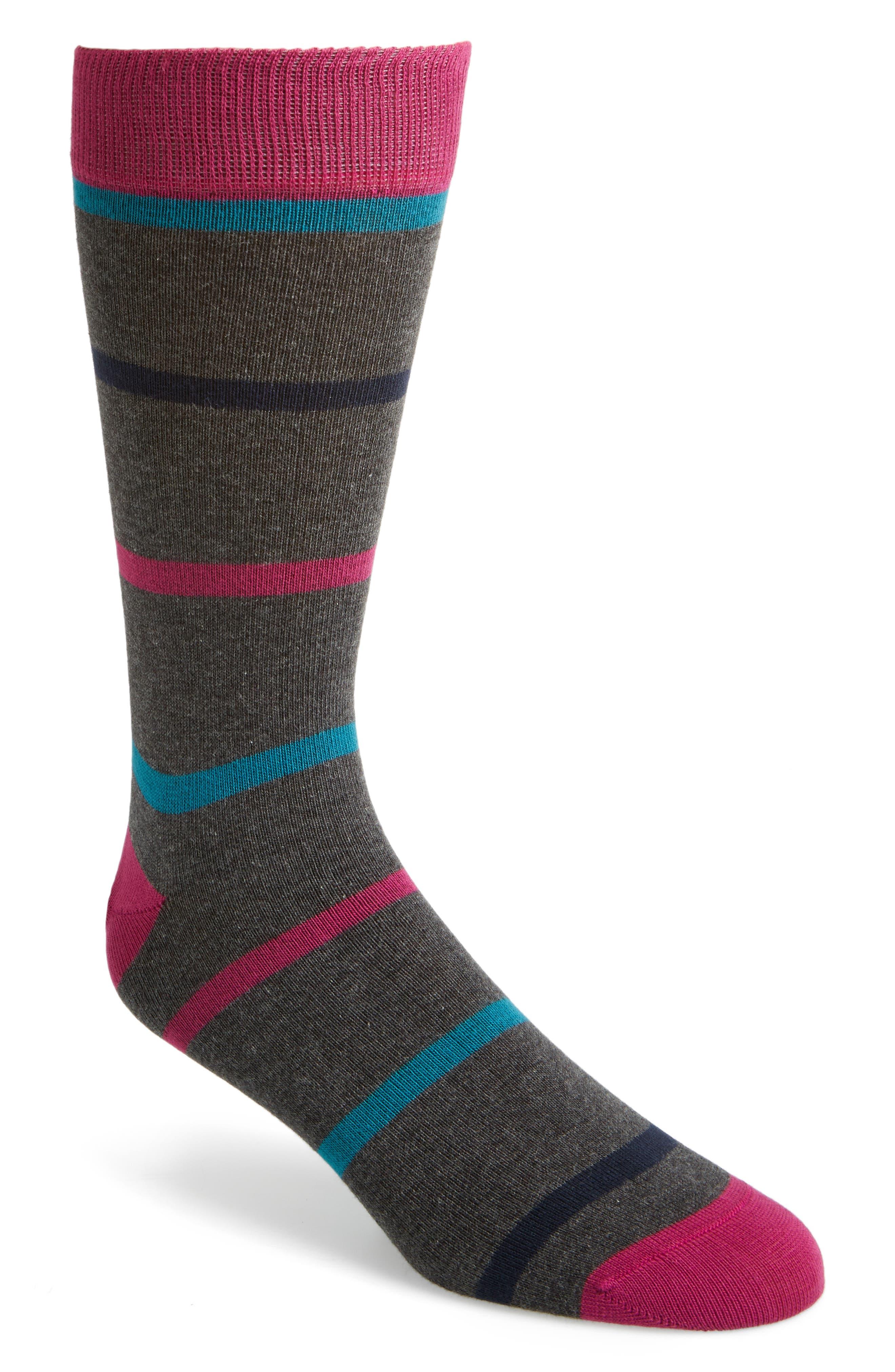 Stripe Crew Socks,                         Main,                         color, Charcoal