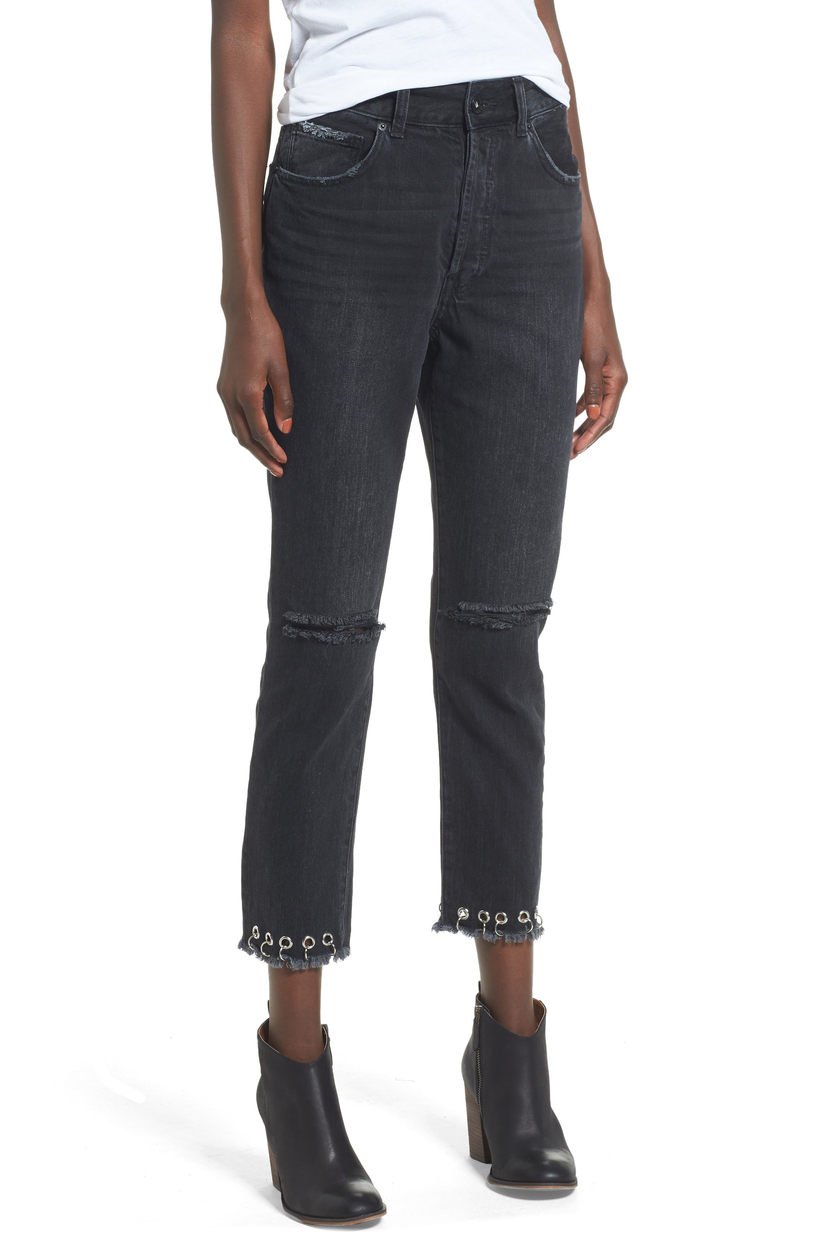 Band of Gypsies Maddy Grommet Straight Leg Jeans (Vibes West)