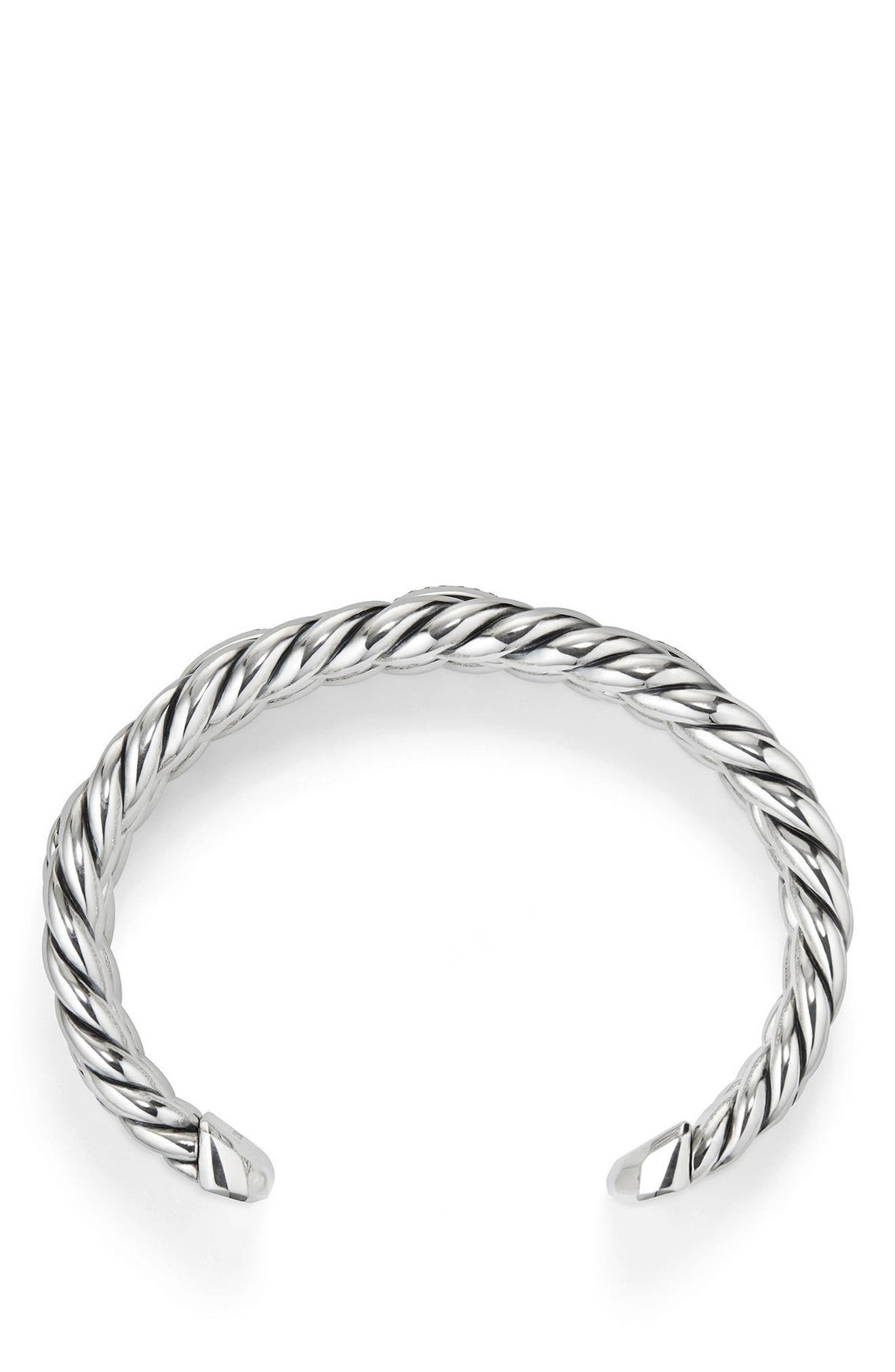 Wellesley Link Chain Three-Row Cuff with Diamonds,                             Alternate thumbnail 2, color,                             Silver