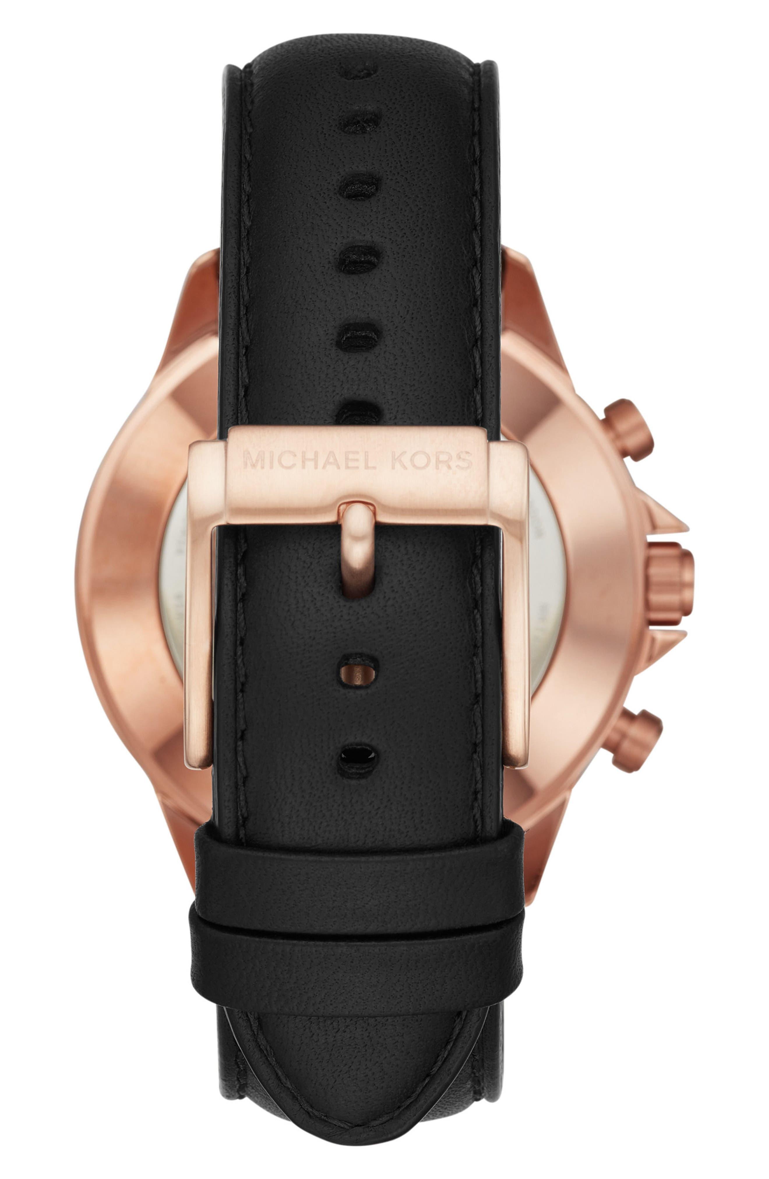 Michael Kors Gage Leather Strap Smart Watch, 45mm,                             Alternate thumbnail 2, color,                             Black/ Rose Gold