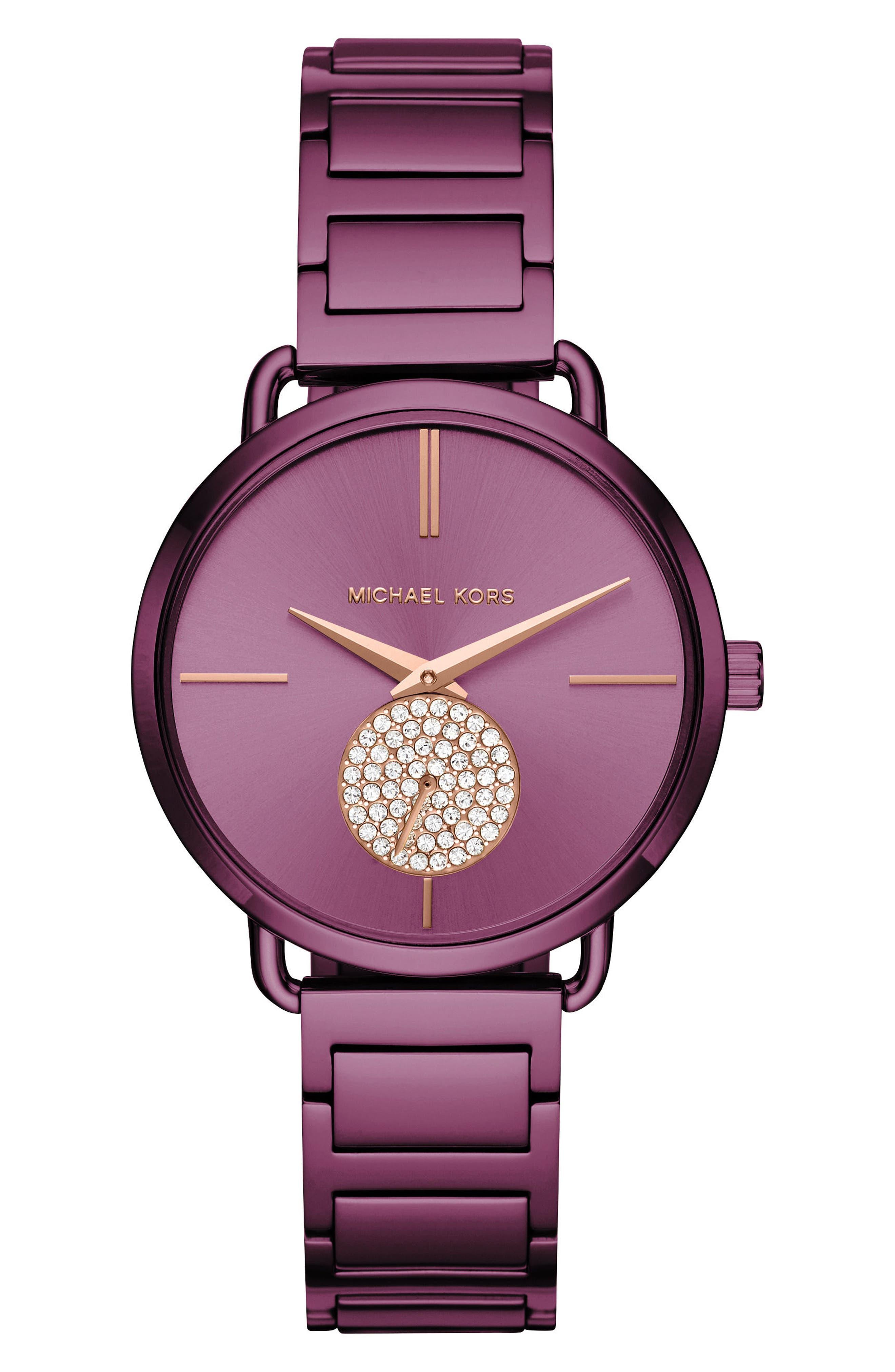 Portia Pavé Bracelet Watch, 36mm,                             Main thumbnail 1, color,                             Purple