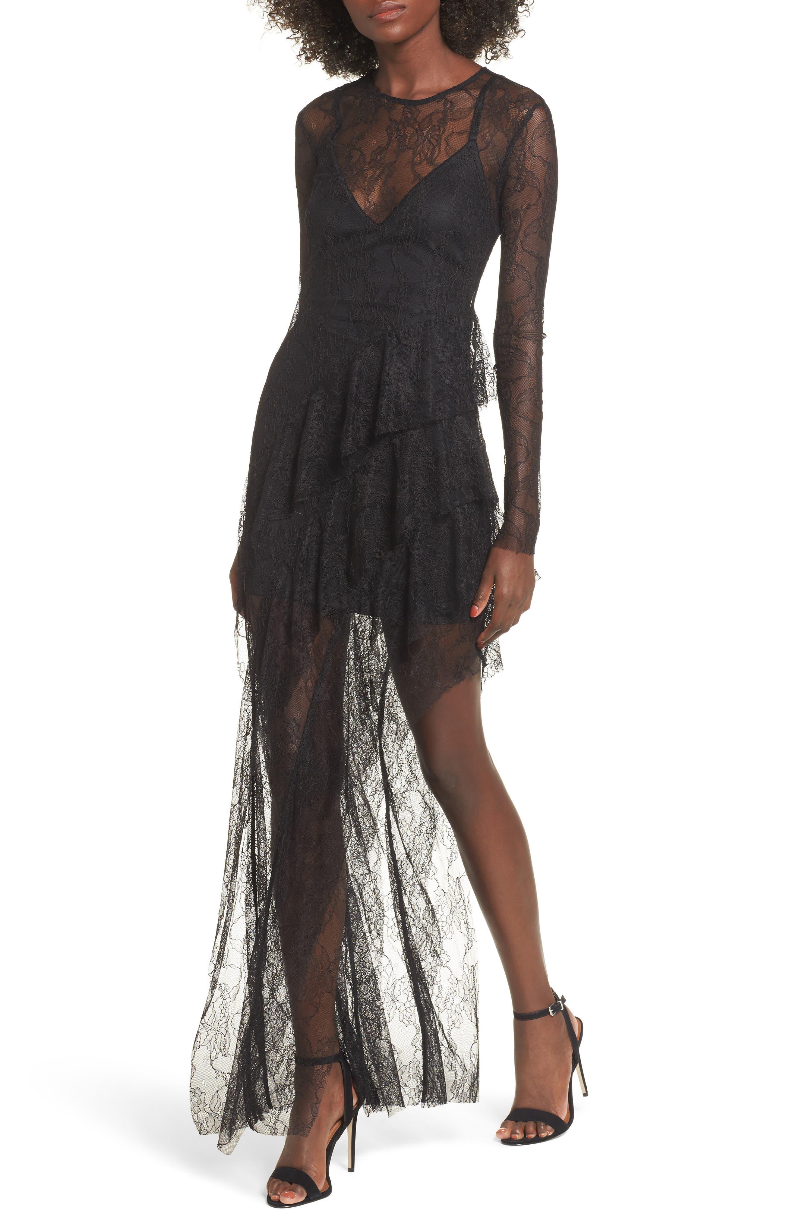 AFRM Marguerite Ruffle Lace Maxi Dress