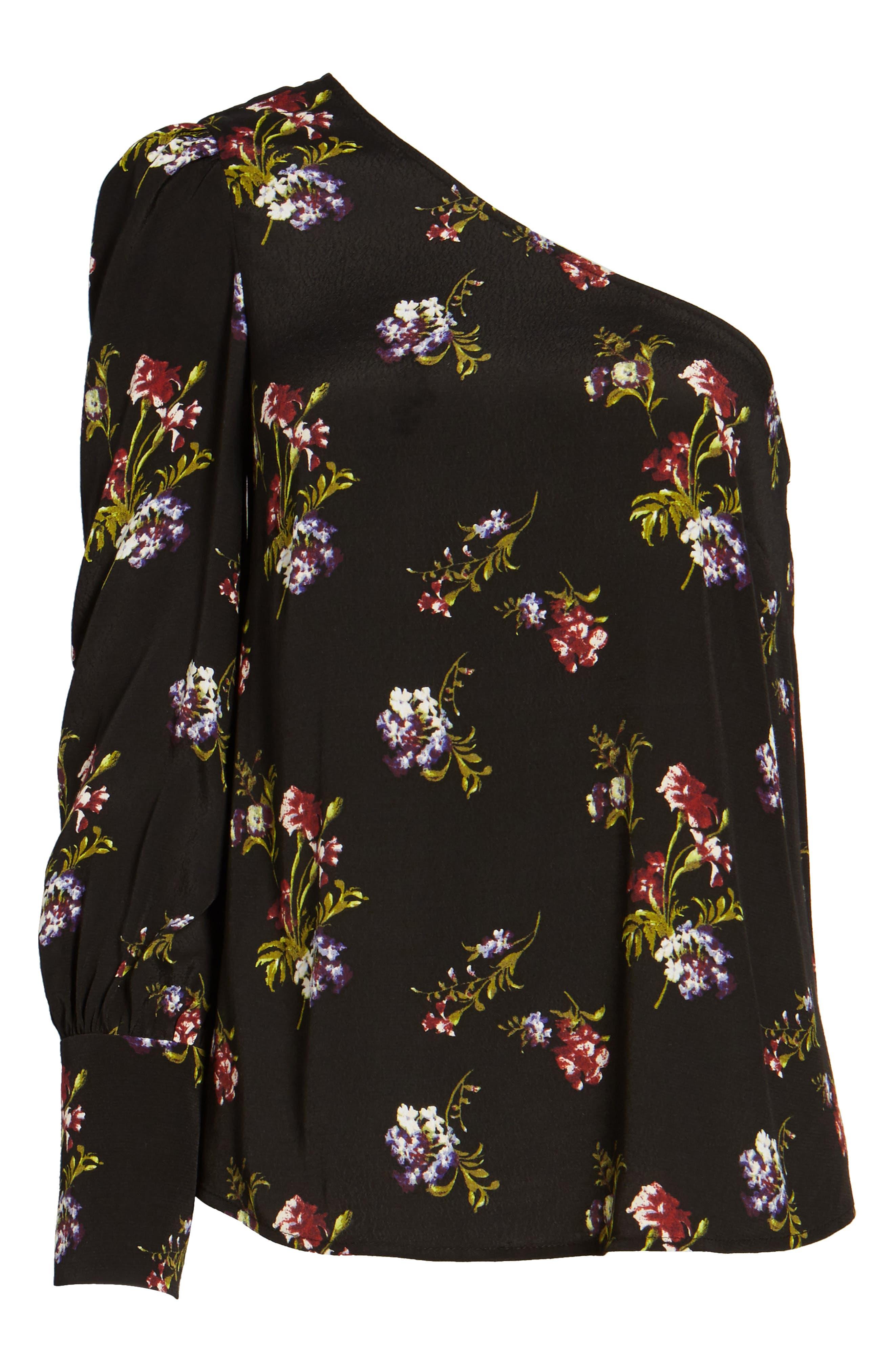 Print One-Shoulder Top,                             Alternate thumbnail 6, color,                             Black Falling Bouquet