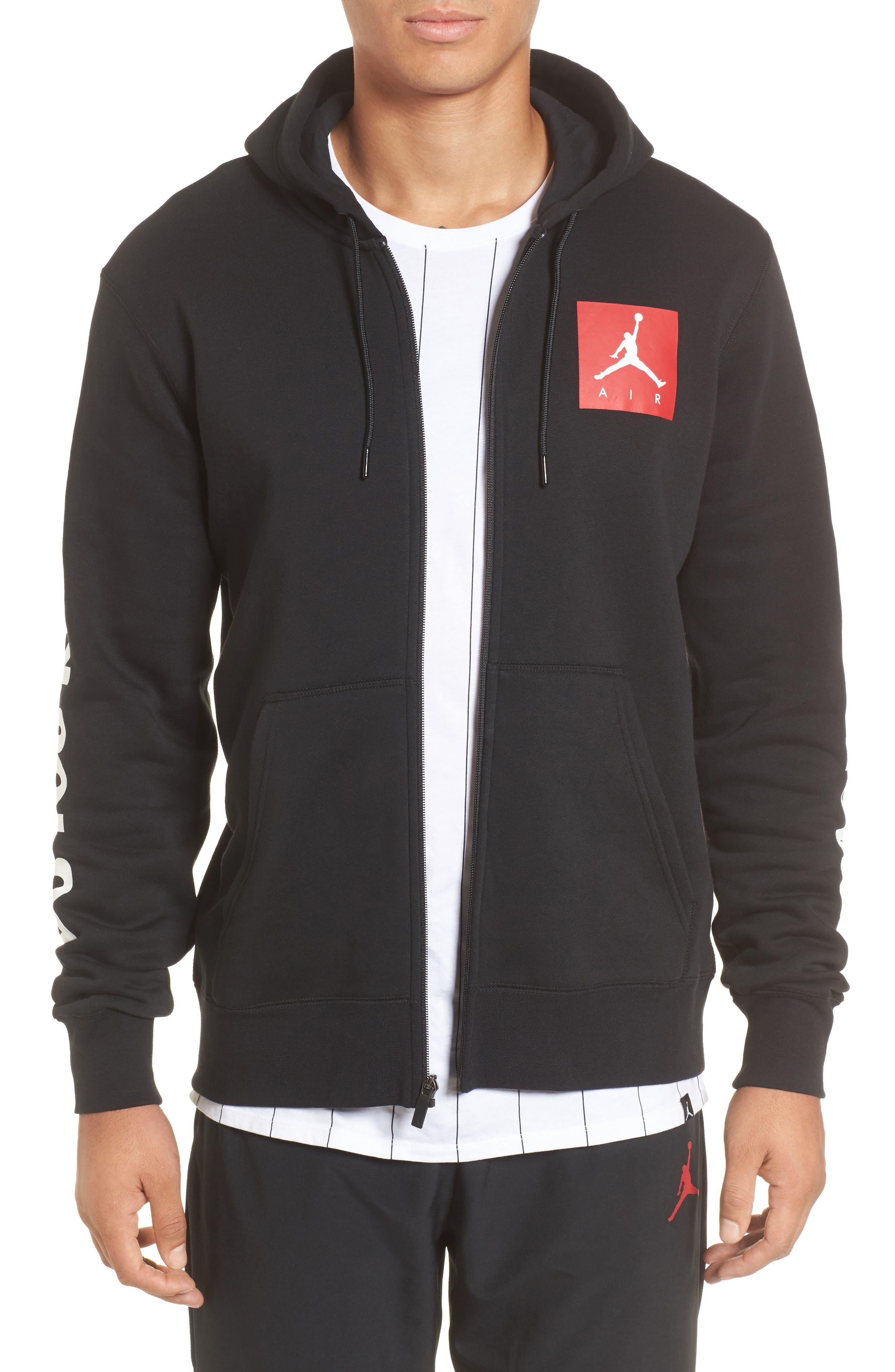 Flight Fleece AJ3 Zip Hoodie,                         Main,                         color, Black/ Gym Red/ White