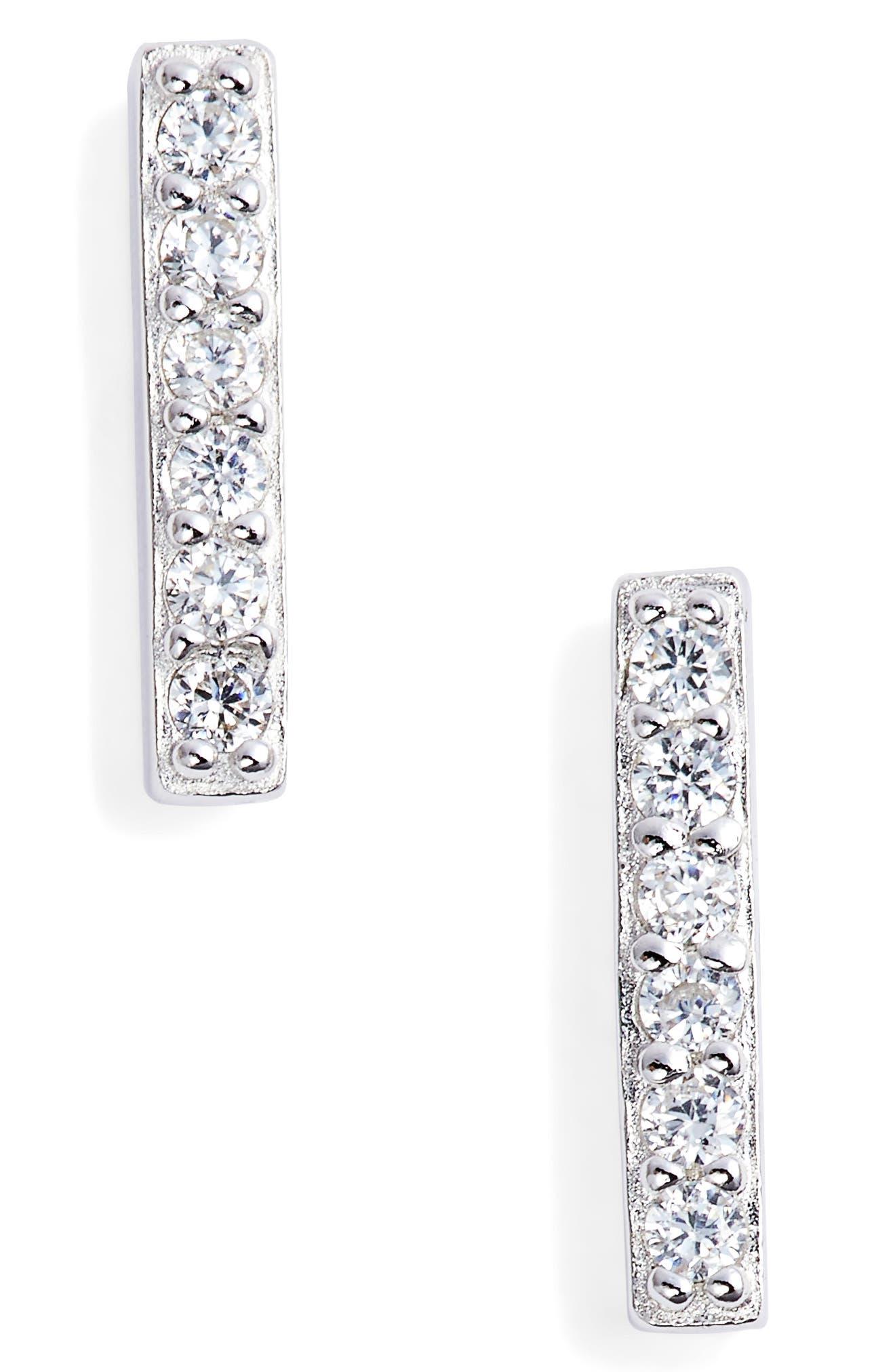Alternate Image 1 Selected - Nordstrom Precious Metal Plated Cubic Zirconia Bar Earrings