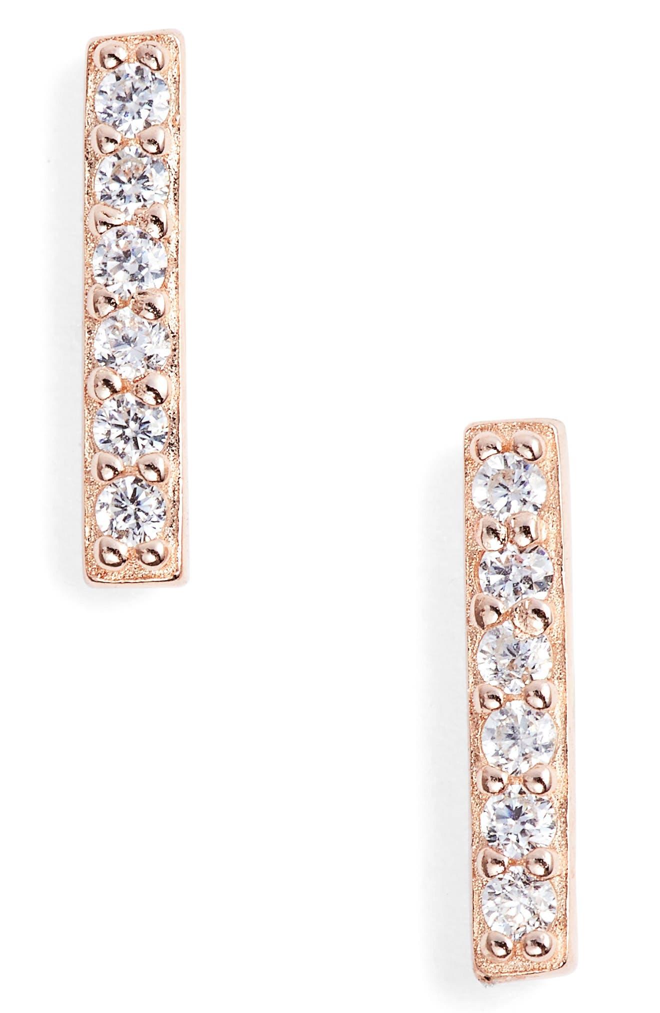 Precious Metal Plated Cubic Zirconia Bar Earrings,                             Main thumbnail 1, color,                             Rose Gold