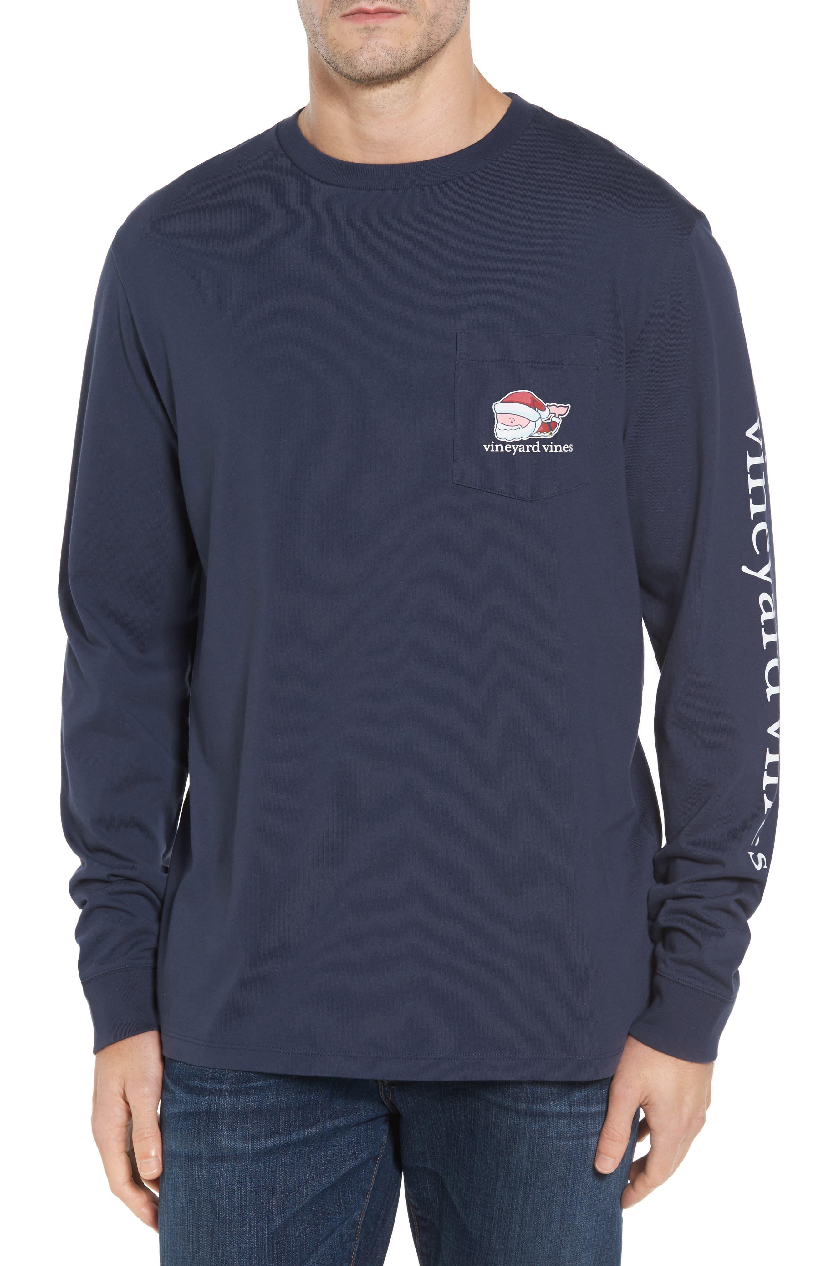 Mr. Claus Whale Graphic Pocket T-Shirt,                             Alternate thumbnail 2, color,                             Blue Blazer