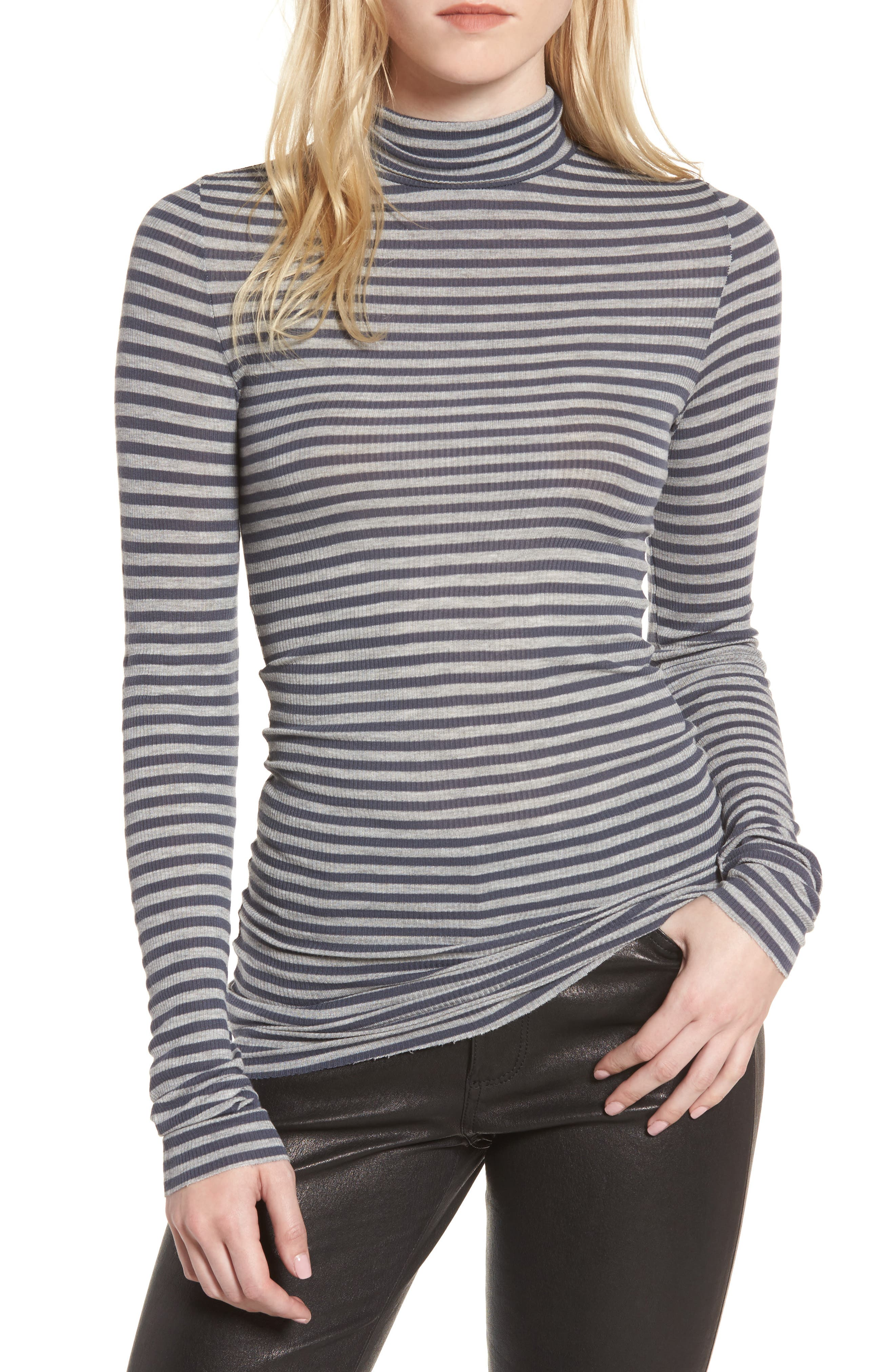 Jill Turtleneck,                         Main,                         color, Blueberry/ Heather Grey