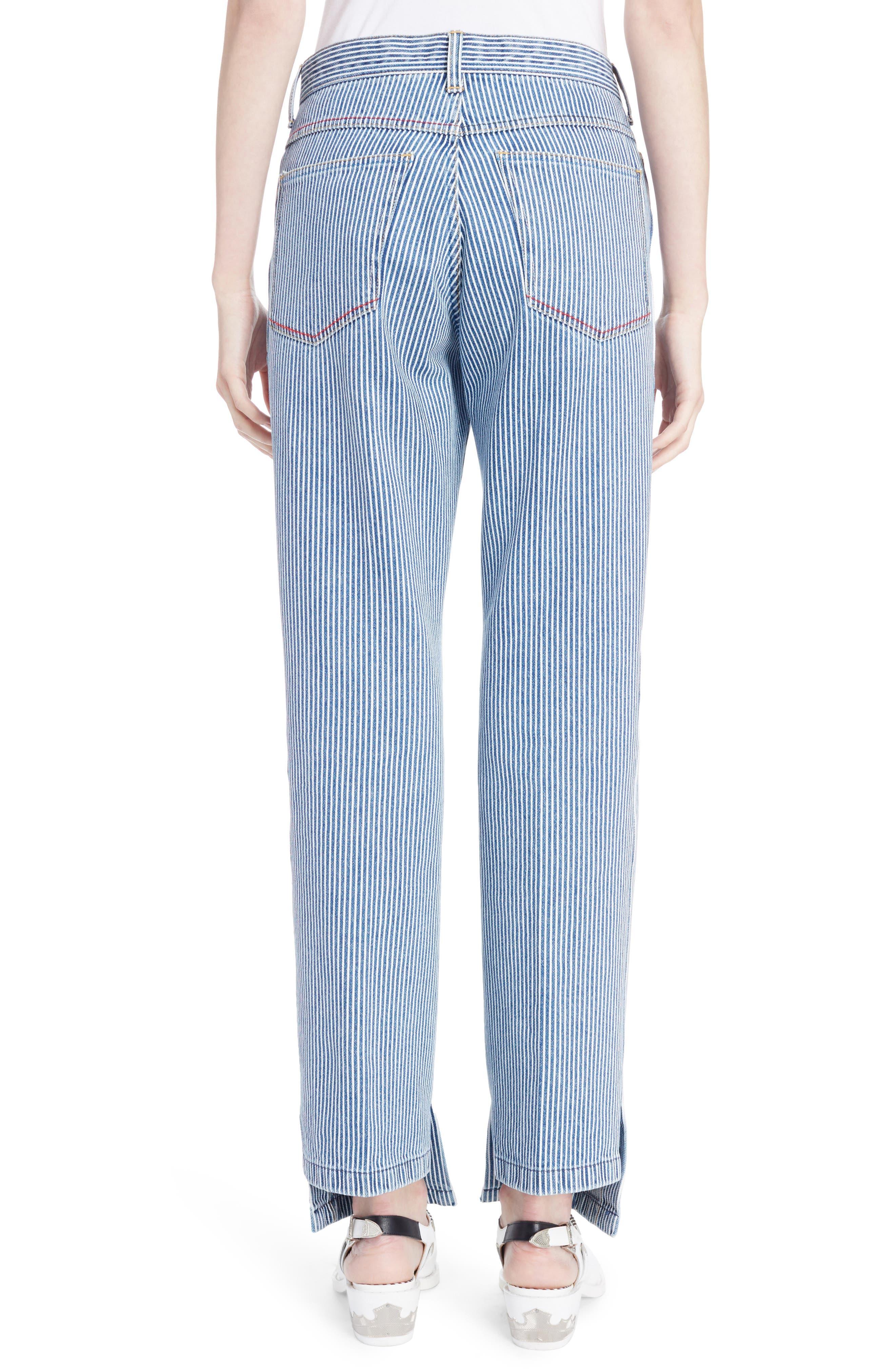 Alternate Image 2  - TOGA Stripe Straight Leg Jeans (Navy White)