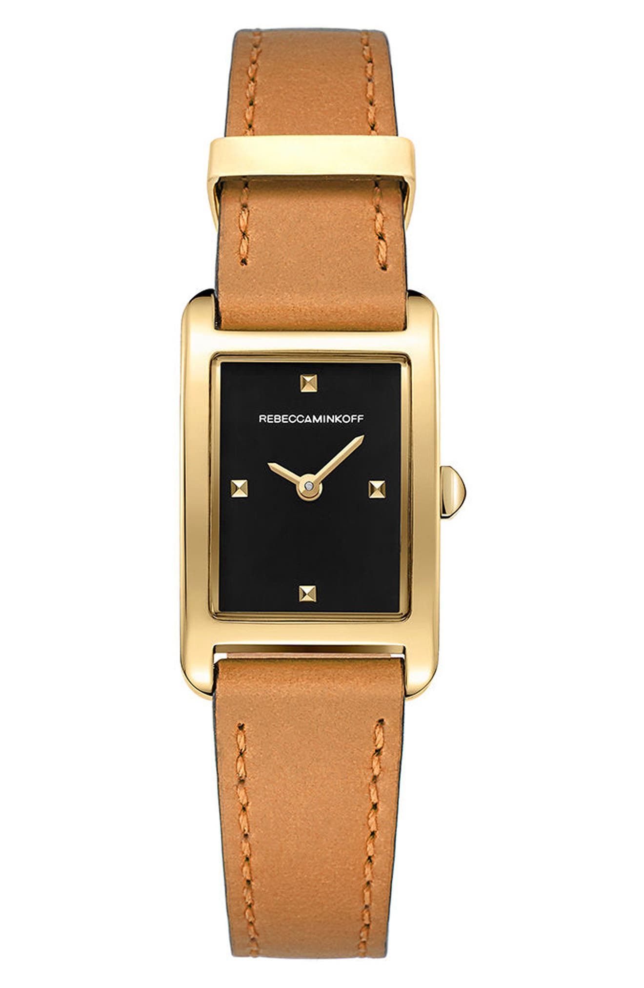 Moment Leather Strap Watch, 19mm x 30mm,                         Main,                         color, Brown/ Black/ Gold