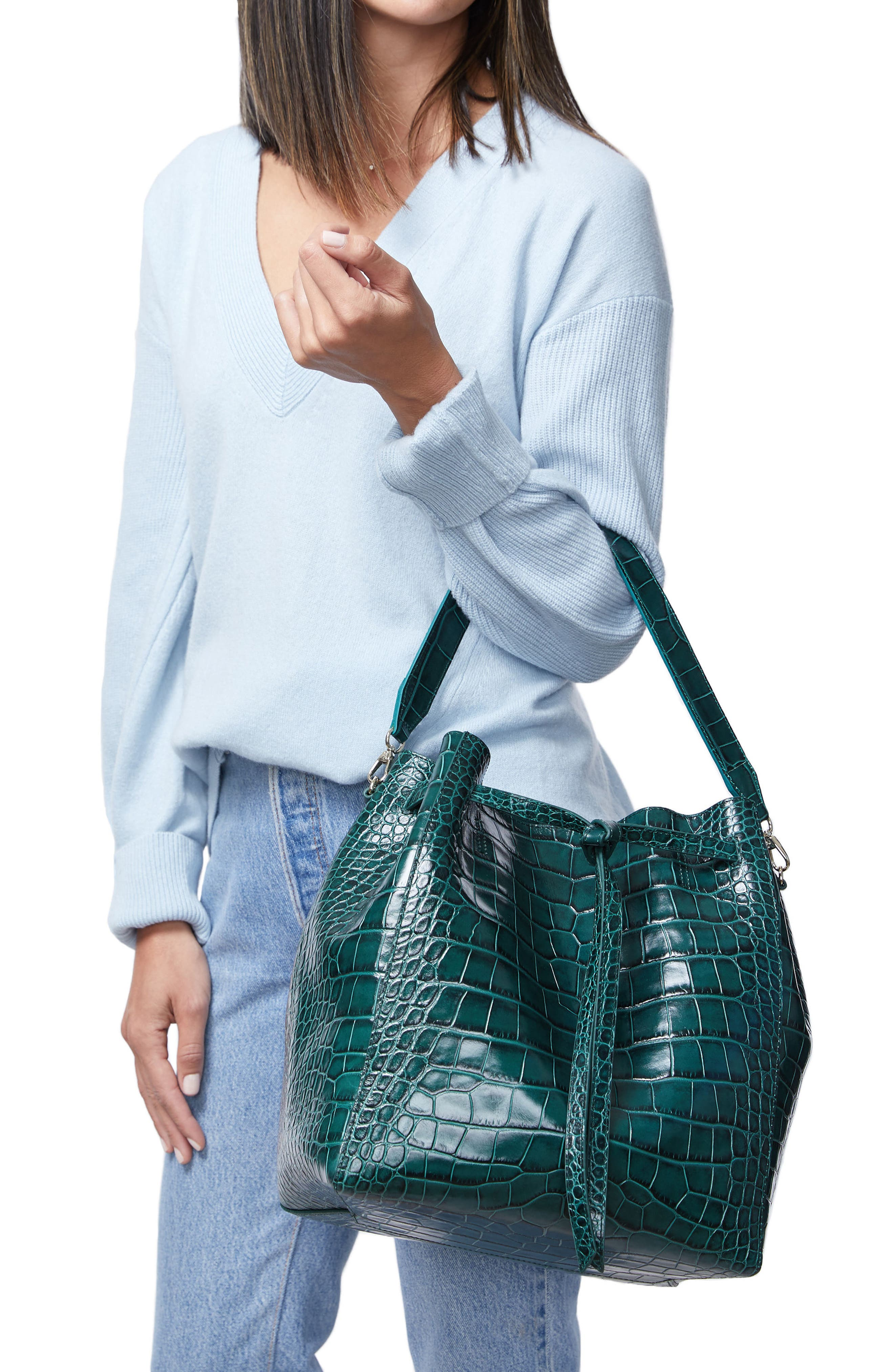 Alternate Image 2  - Pop & Suki Croc Embossed Carryall Tote (Nordstrom Exclusive)