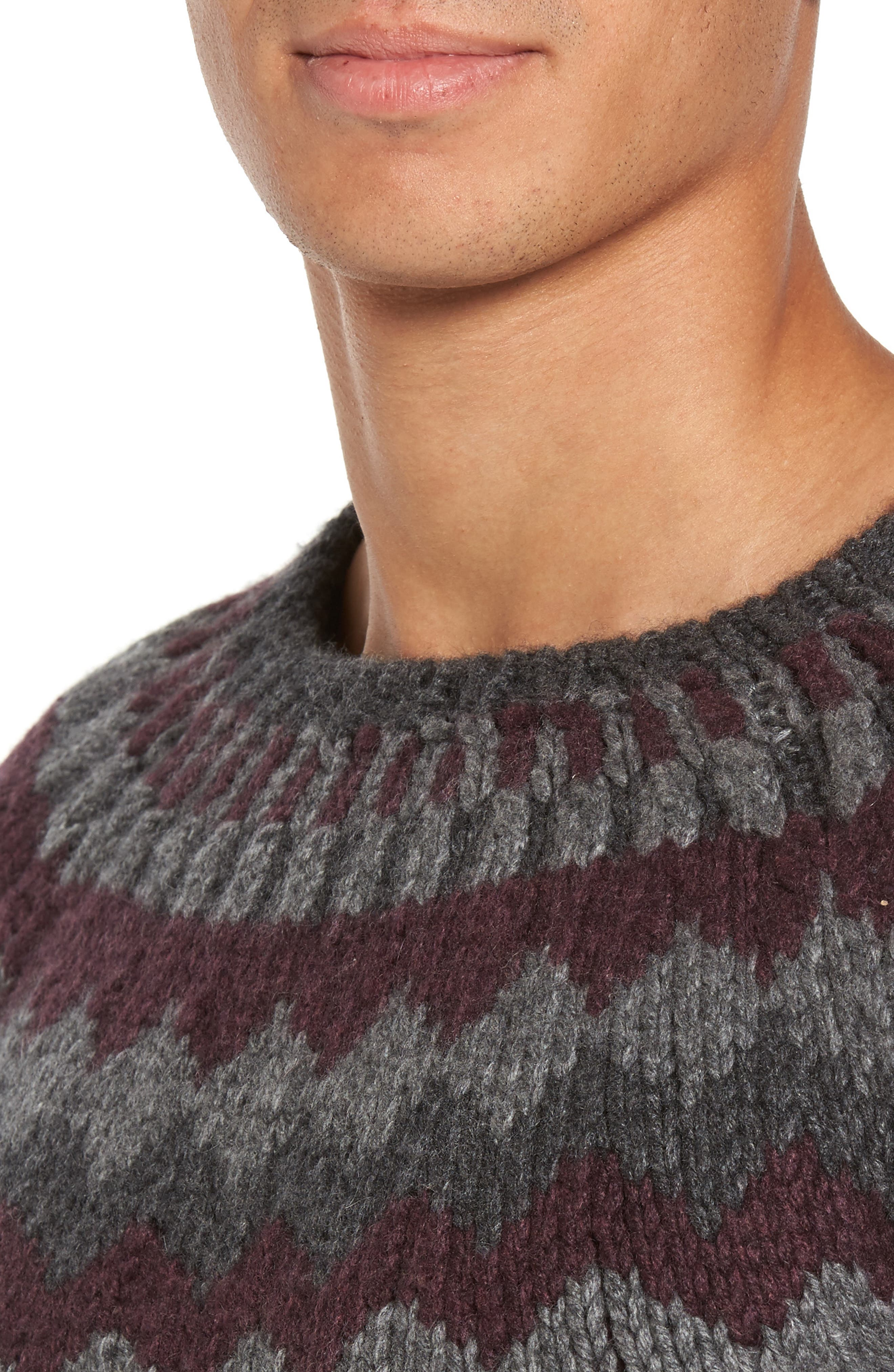 Intarsia Cashmere Sweater,                             Alternate thumbnail 4, color,                             Grey / Burgundy/ Light Grey
