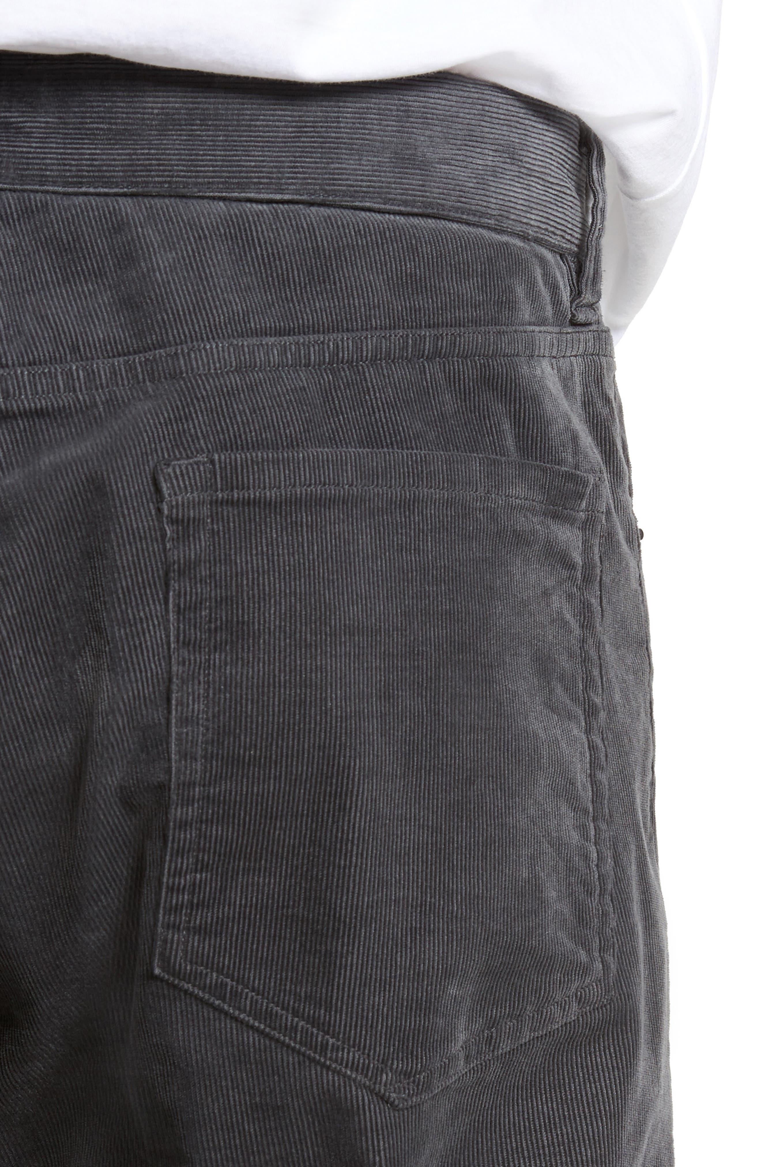 Five-Pocket Stretch Corduroy Pants,                             Alternate thumbnail 4, color,                             Granite