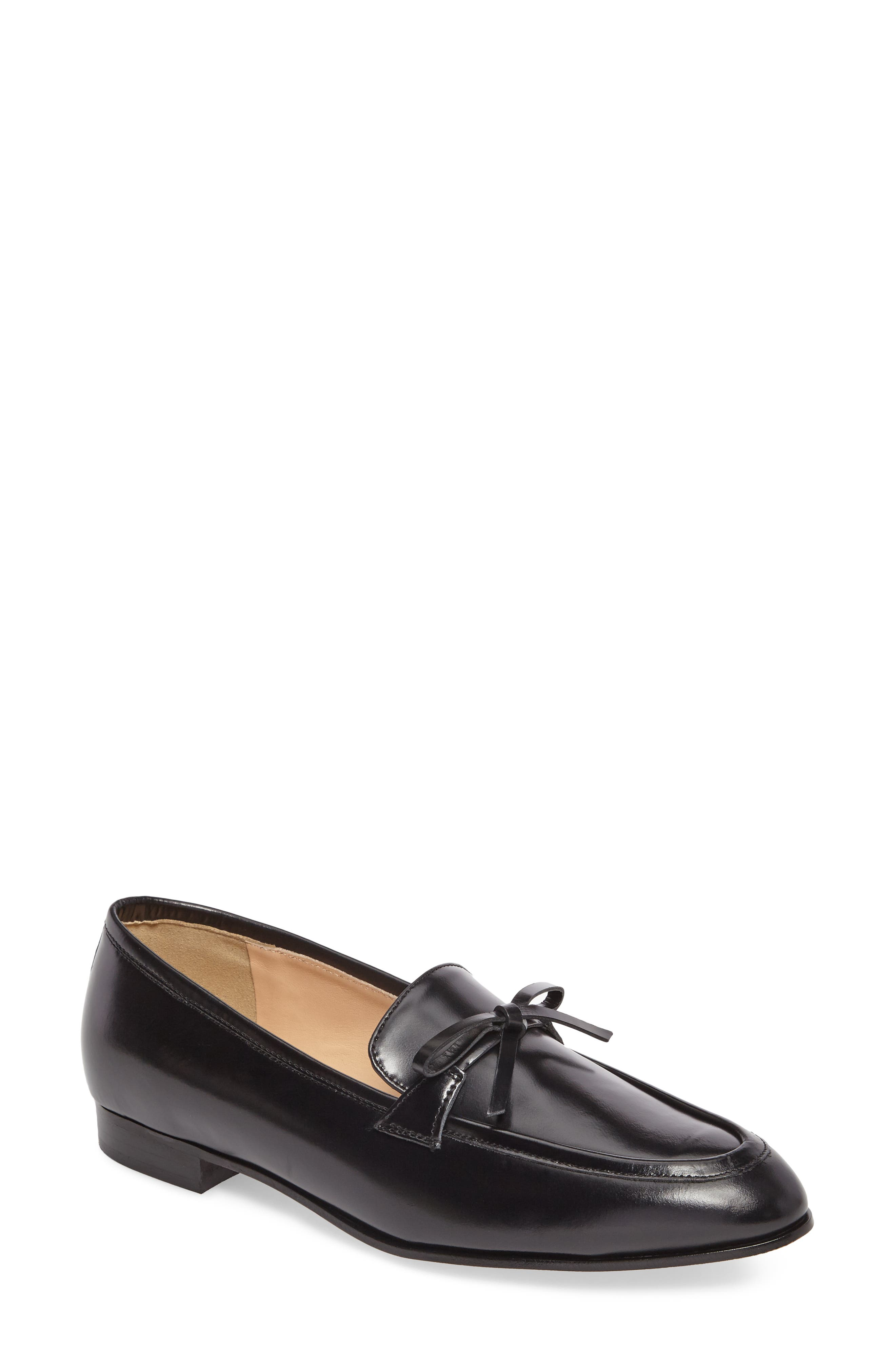 Bow Loafer,                         Main,                         color, Black Leather