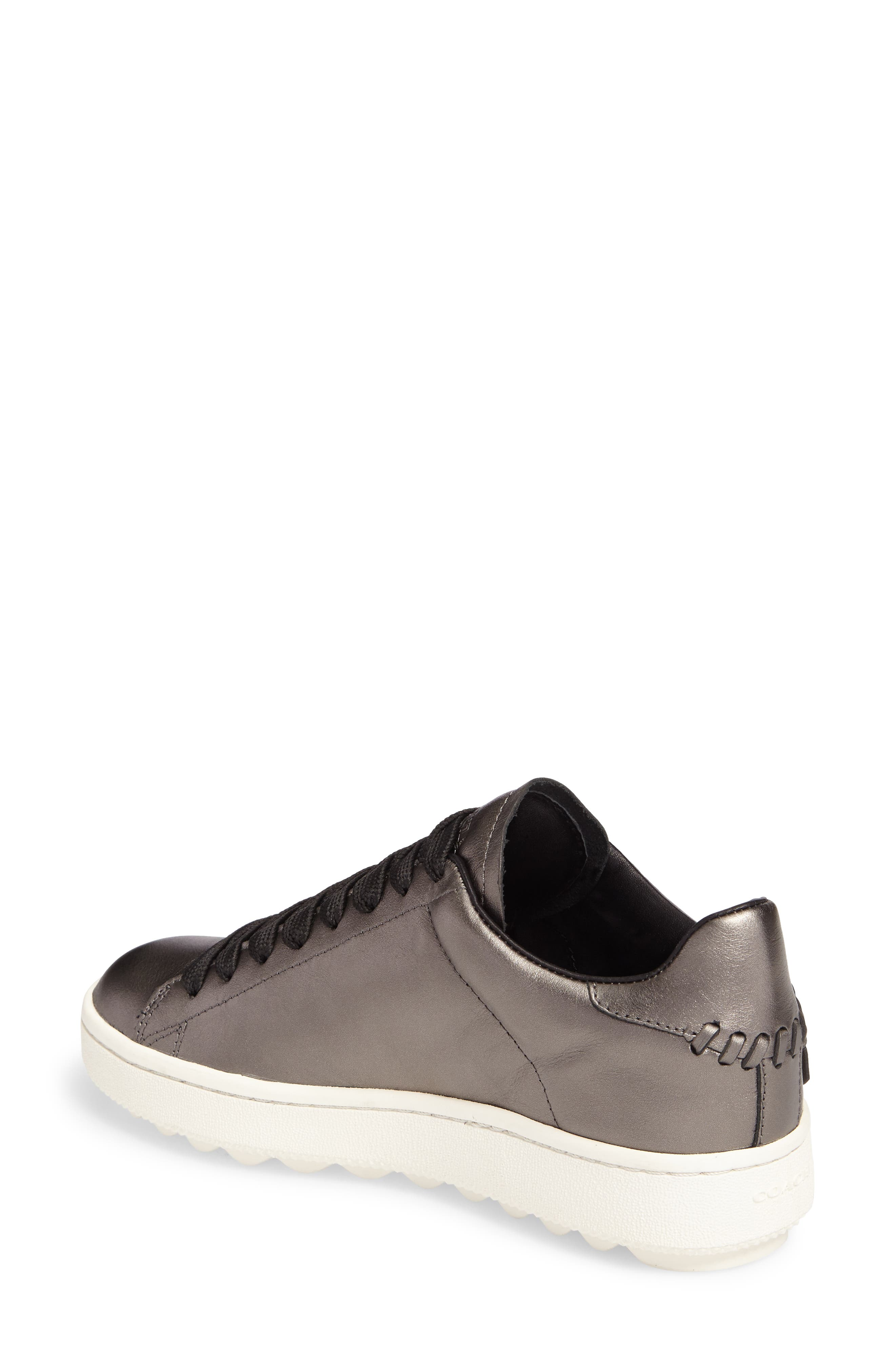 Tea Rose Metallic Sneaker,                             Alternate thumbnail 2, color,                             Gunmetal Leather