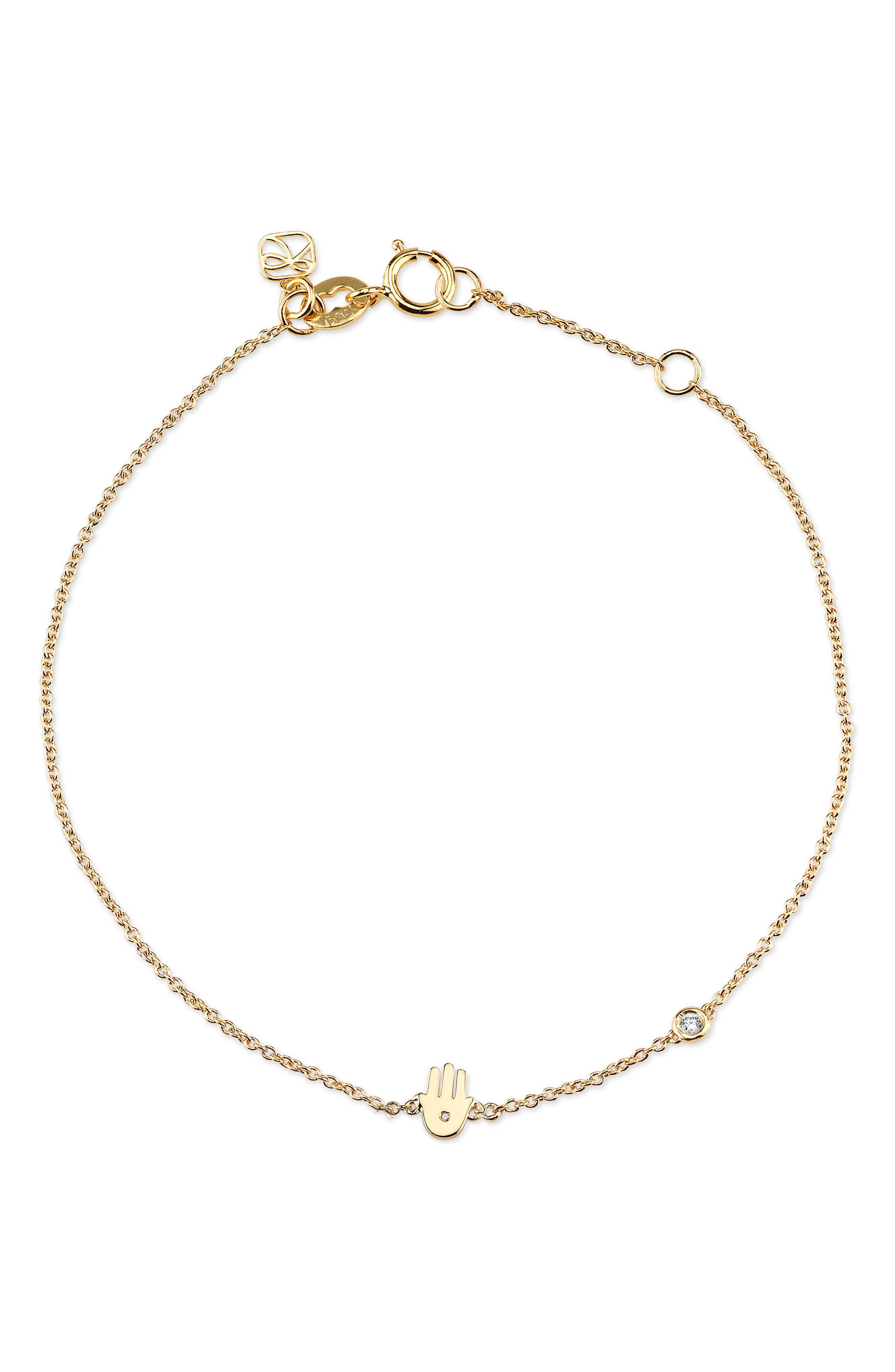 Main Image - Shy by SE Hamsa Diamond Bracelet
