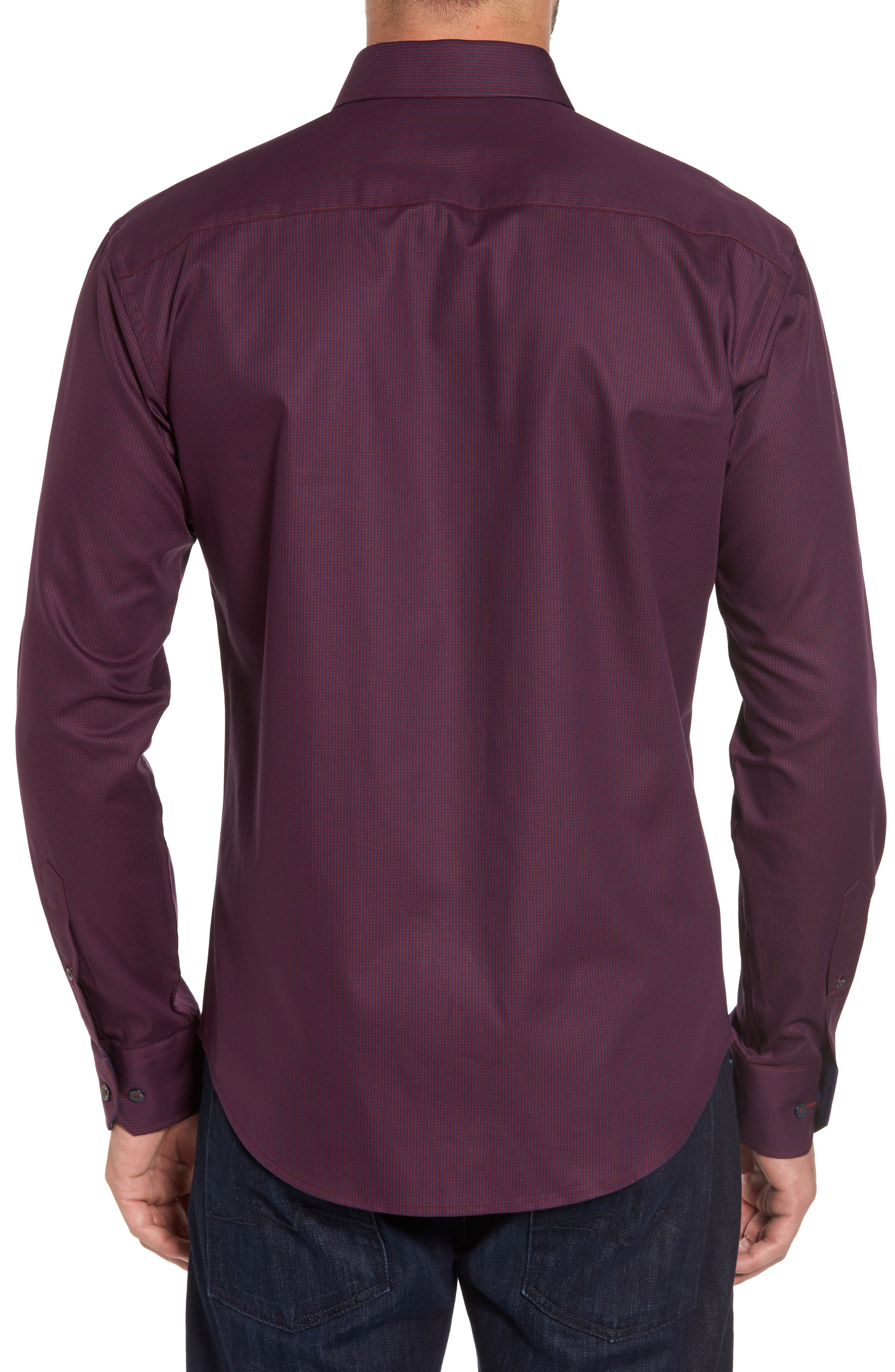 Shaped Fit Sport Shirt,                             Alternate thumbnail 2, color,                             Wine