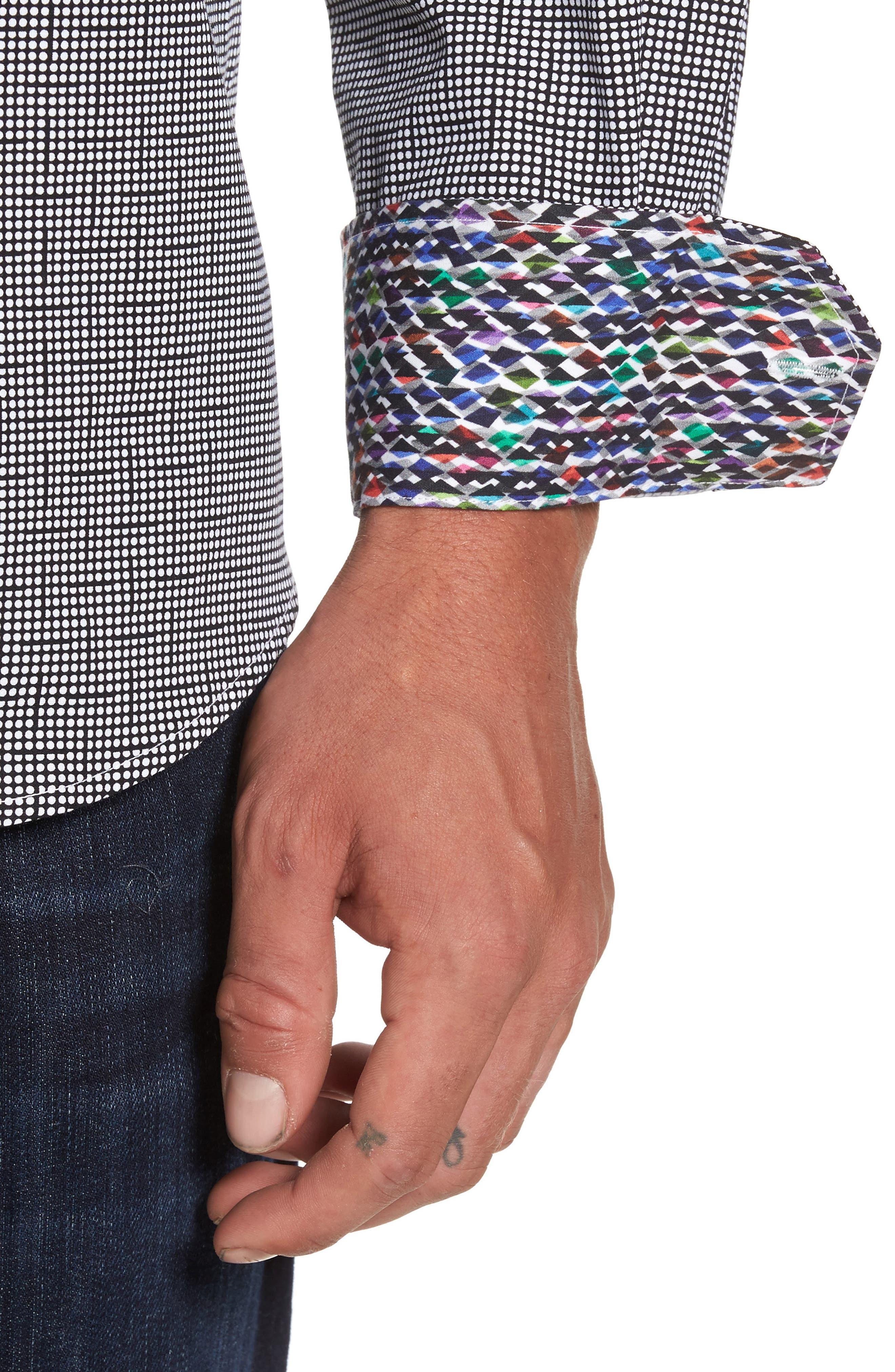 Alternate Image 4  - Bugatchi Classic Fit Dot Print Sport Shirt