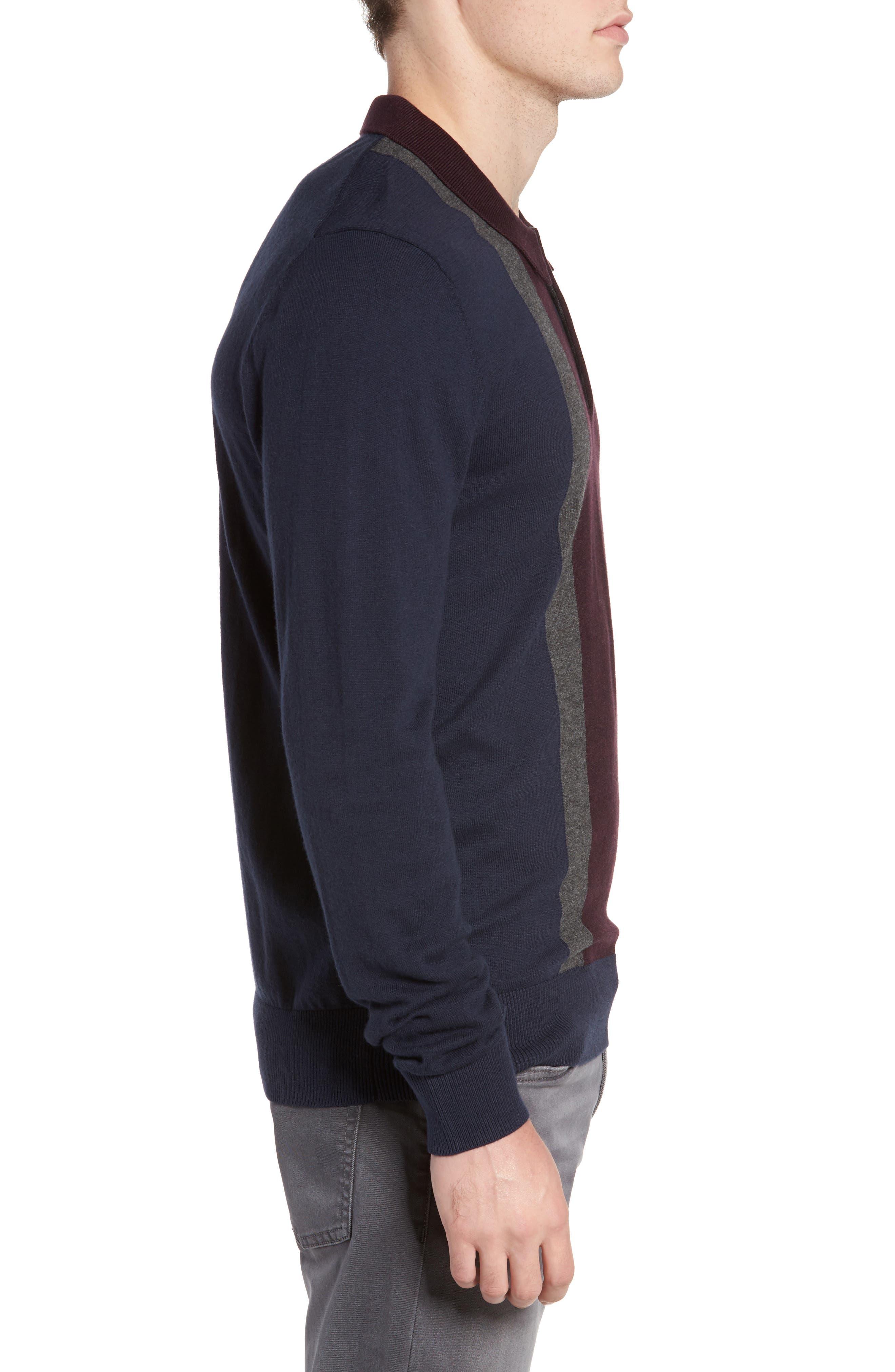 Colorblock Long Sleeve Polo,                             Alternate thumbnail 3, color,                             Navy