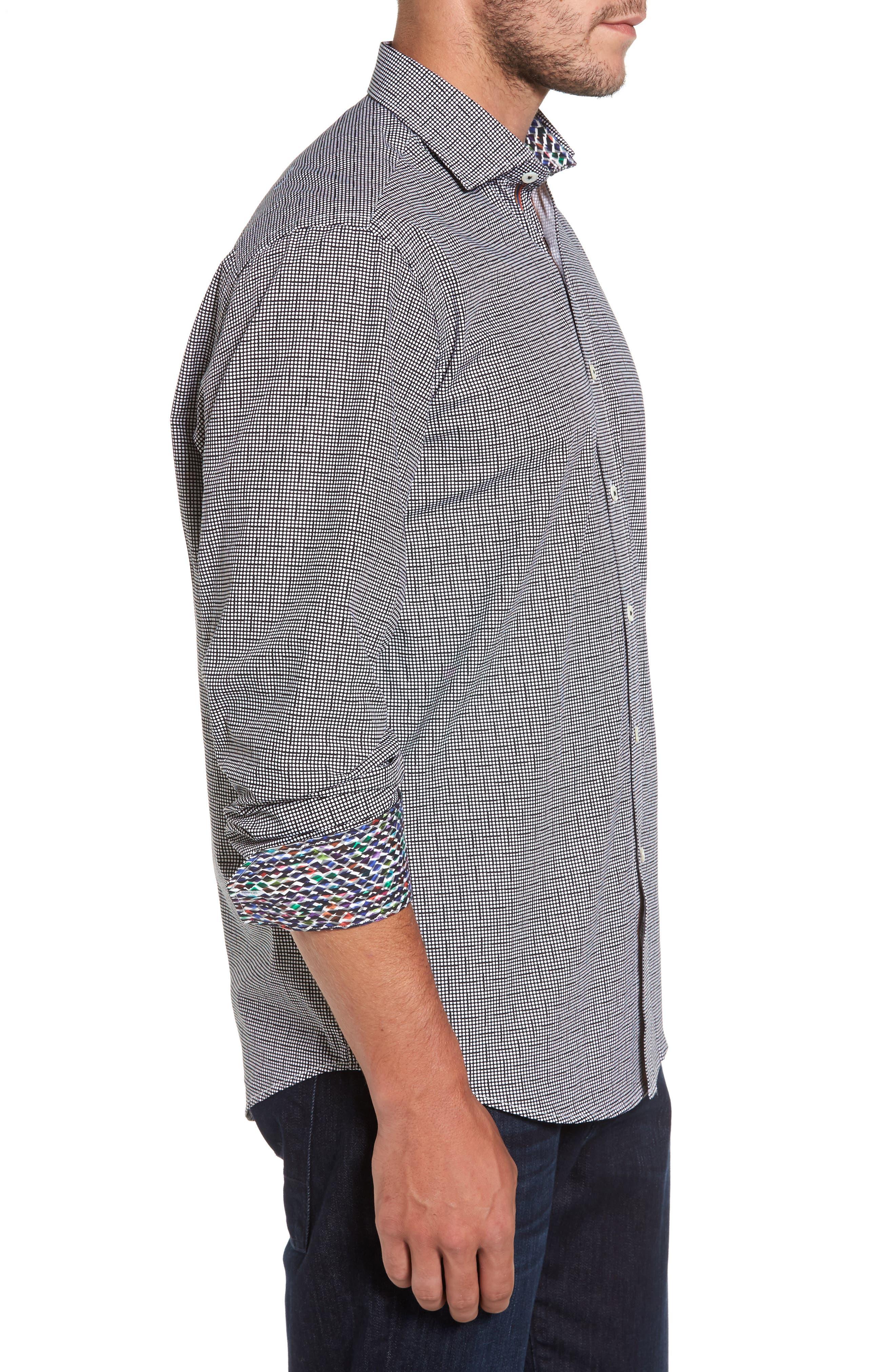 Alternate Image 3  - Bugatchi Classic Fit Dot Print Sport Shirt