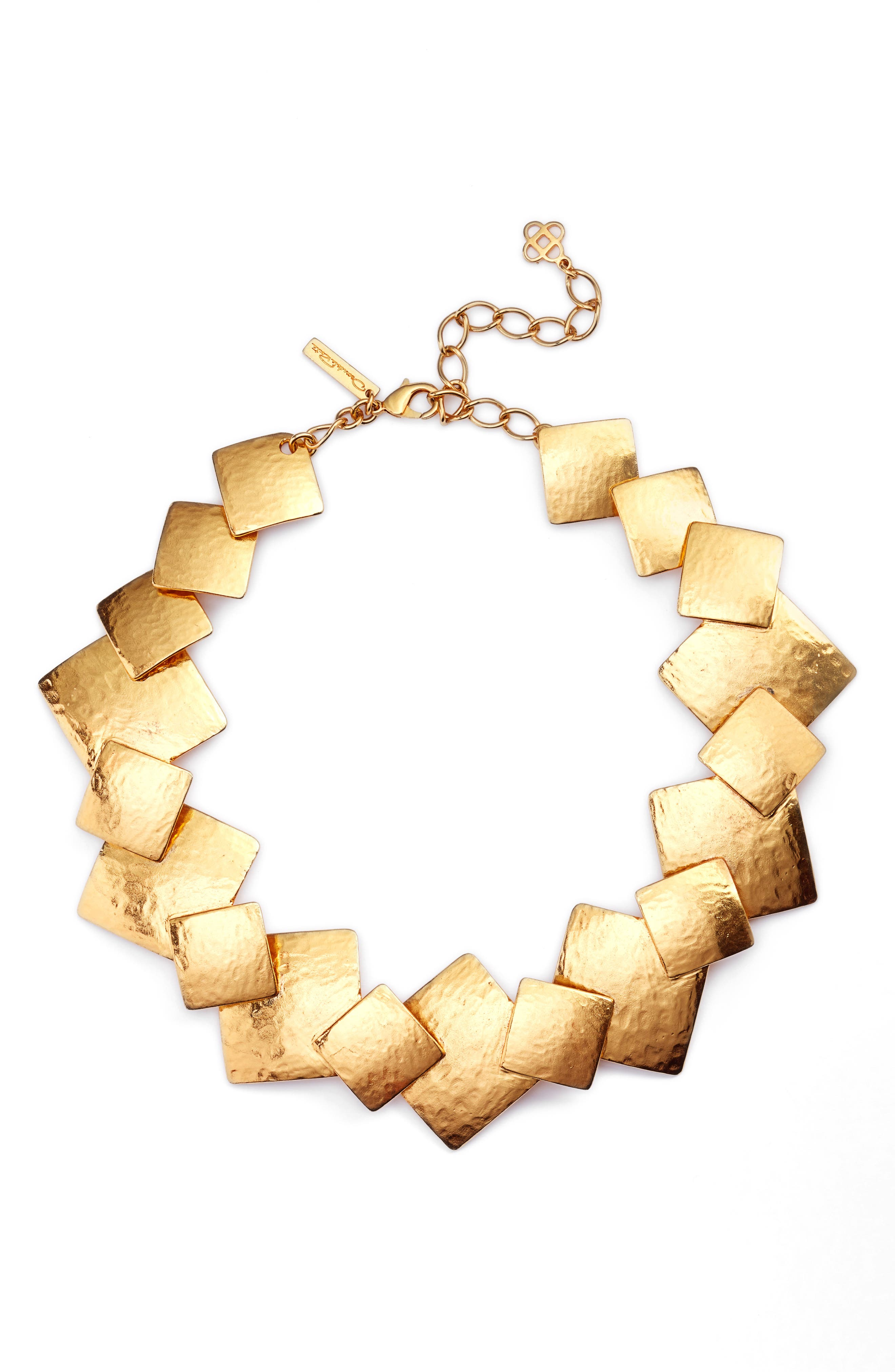 Geo Collage Collar Necklace,                             Main thumbnail 1, color,                             Gold