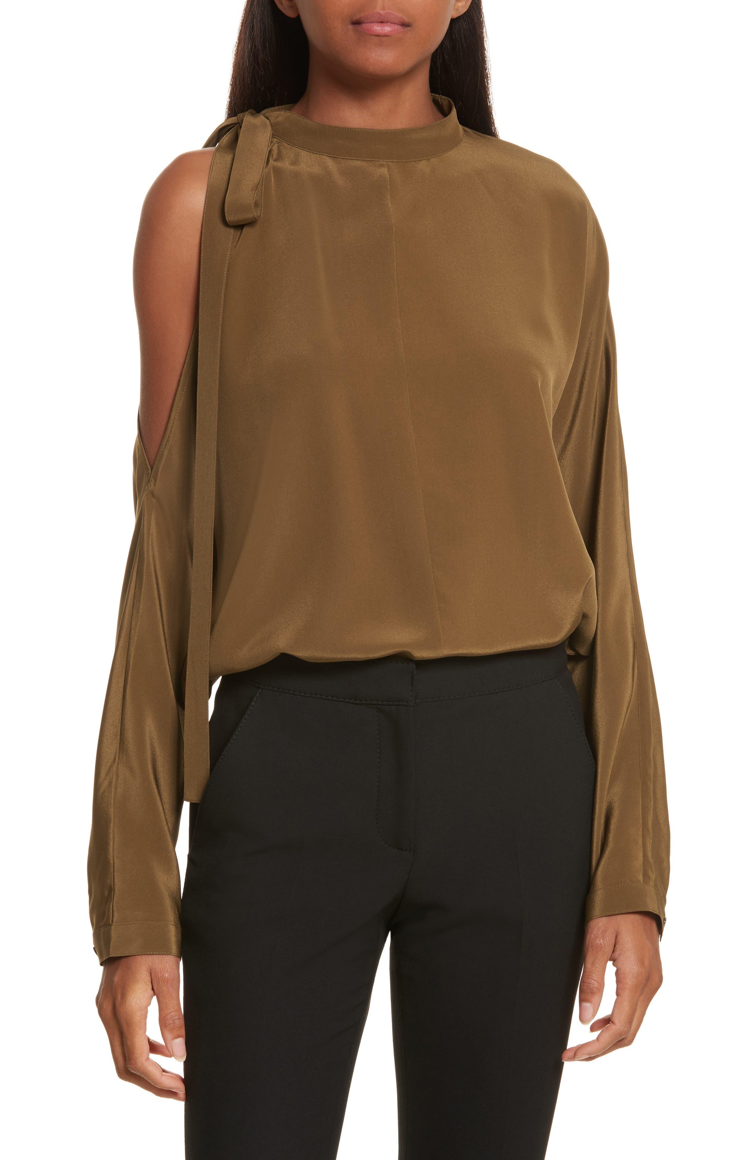 Cold Shoulder Silk Top,                         Main,                         color, Olive
