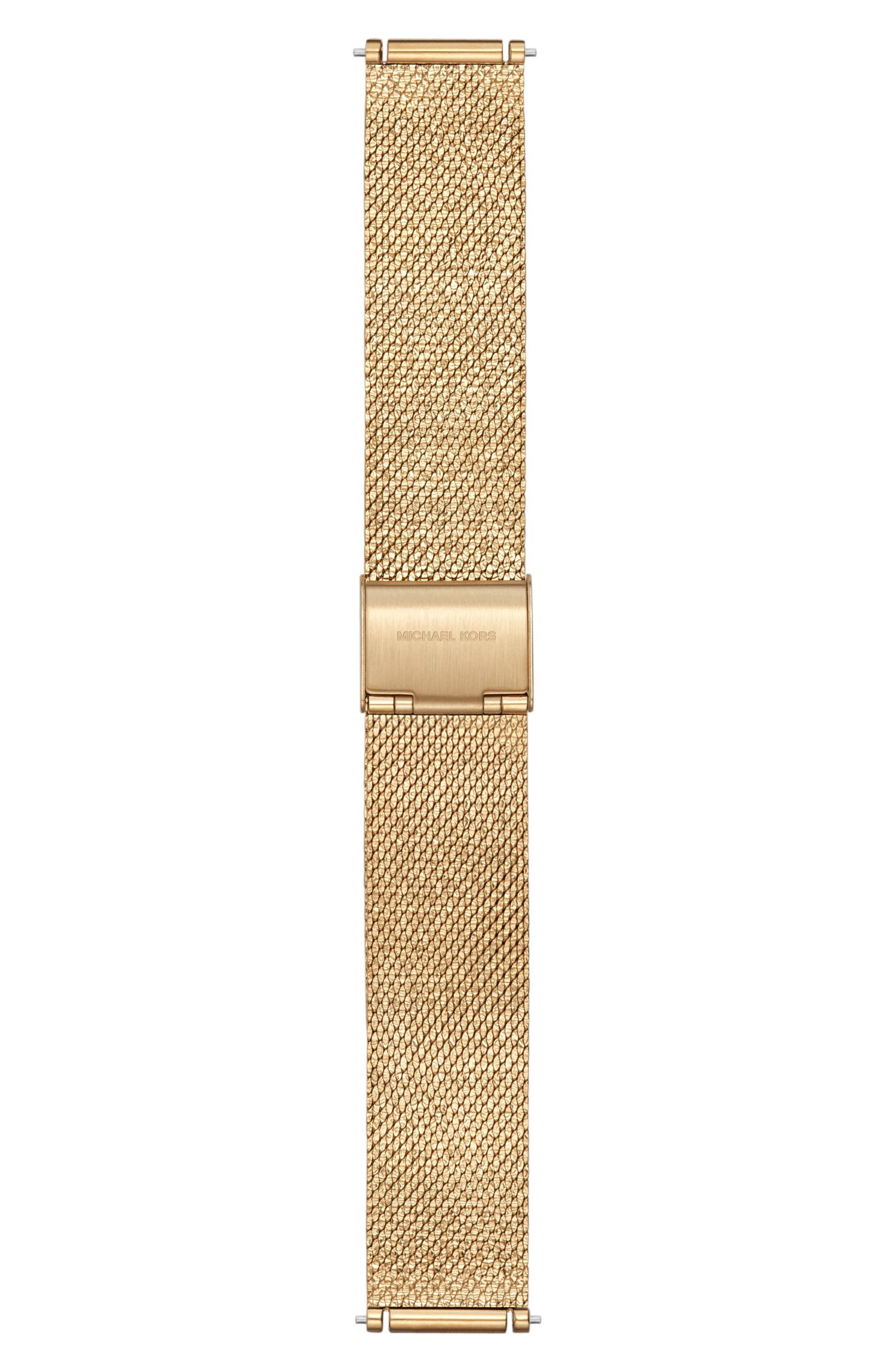 Sofie 18mm Mesh Watch Strap,                             Main thumbnail 1, color,                             Gold