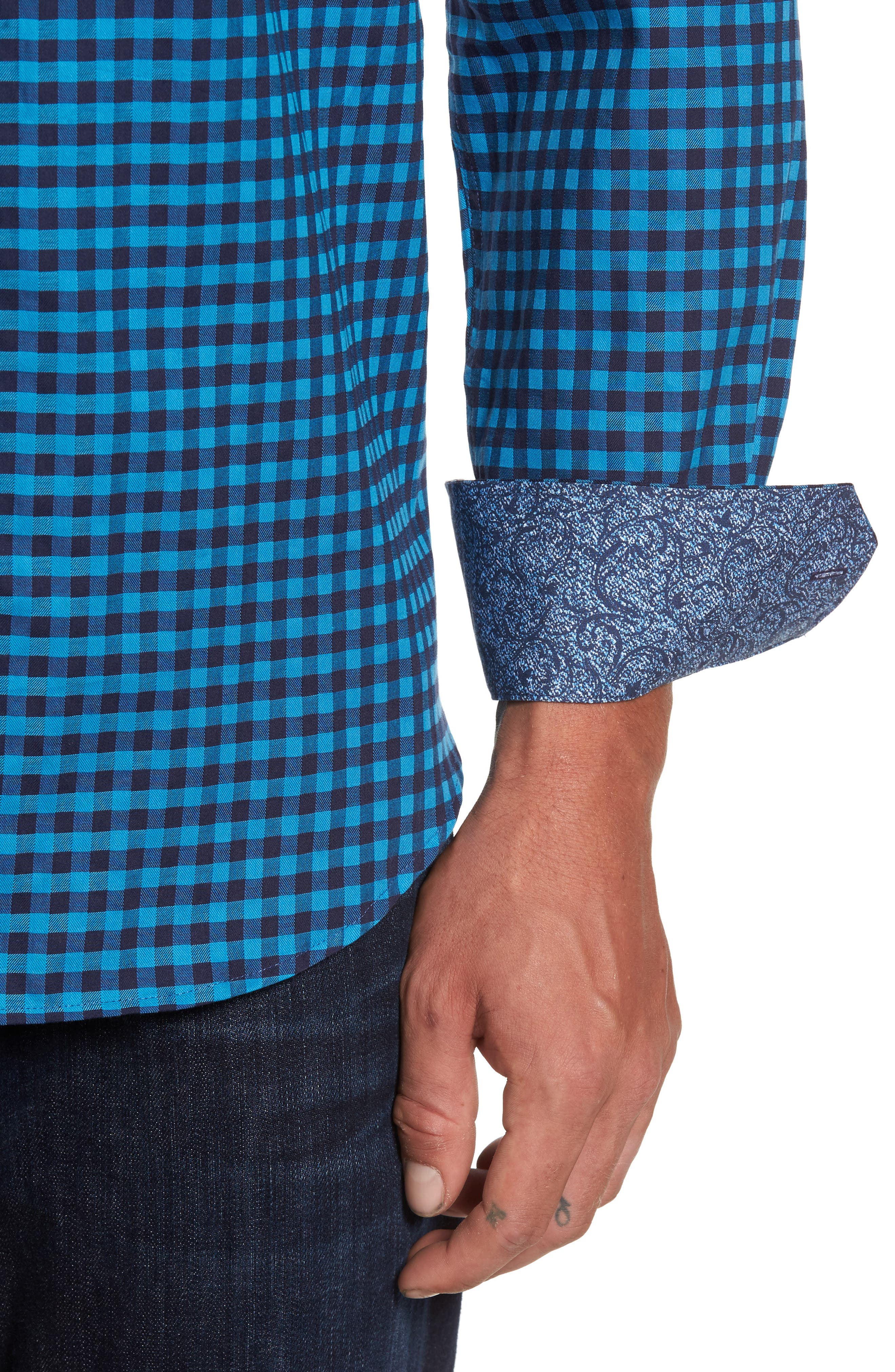 Shaped Fit Check Sport Shirt,                             Alternate thumbnail 4, color,                             Teal
