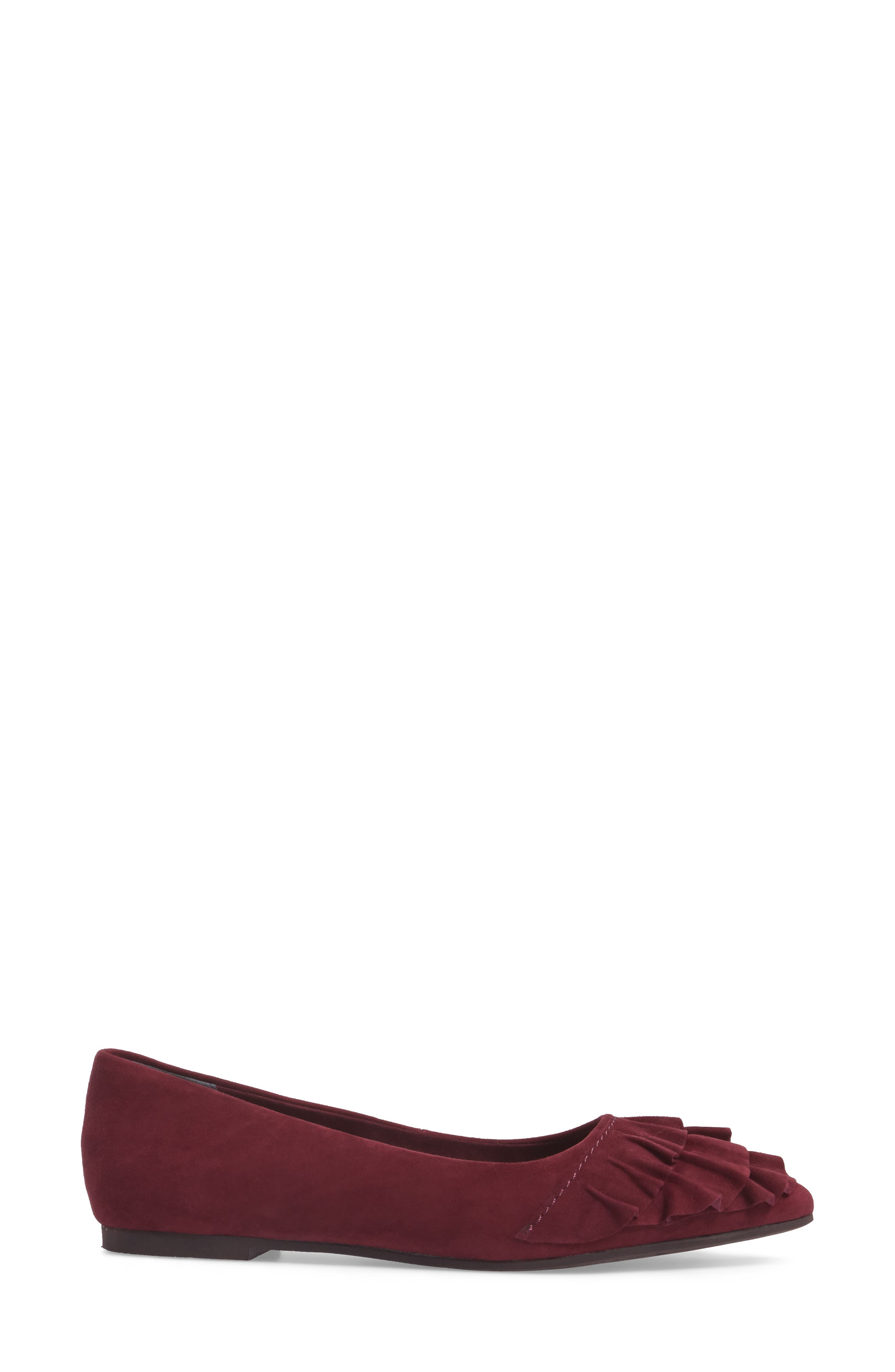 Downstage Pointy Toe Flat,                             Alternate thumbnail 4, color,                             Burgundy Suede