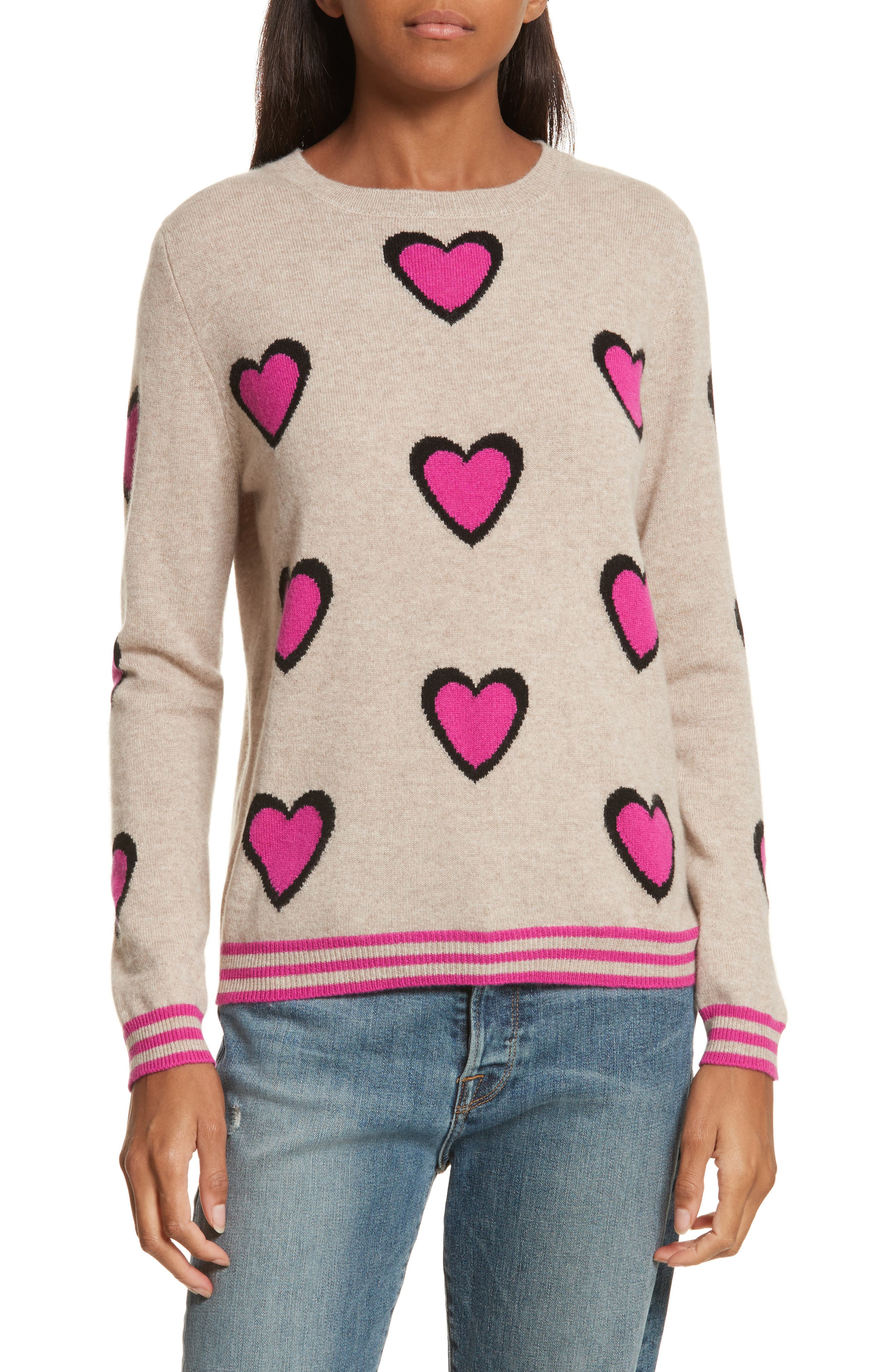 CHINTI & PARKER Heart Burst Cashmere Sweater,                             Main thumbnail 1, color,                             Oatmeal/ Black/ Fuchsia