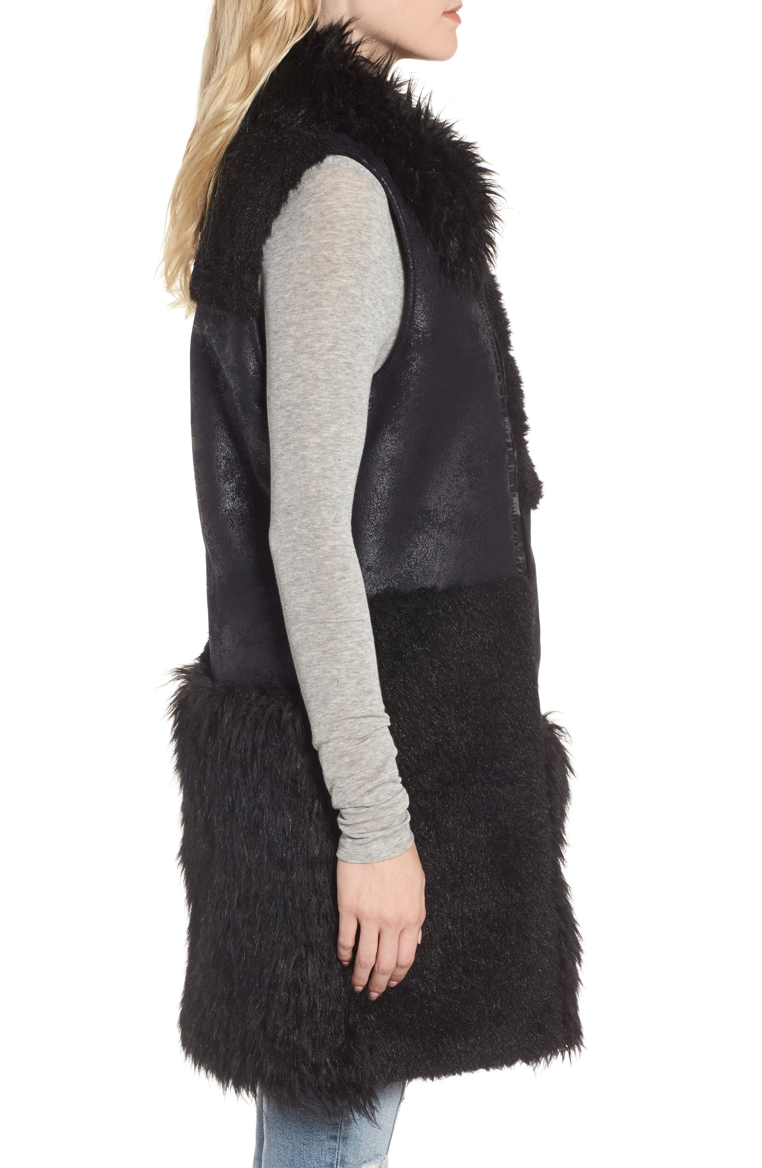 Kimmy Patchwork Faux Fur & Faux Suede Vest,                             Alternate thumbnail 3, color,                             Black