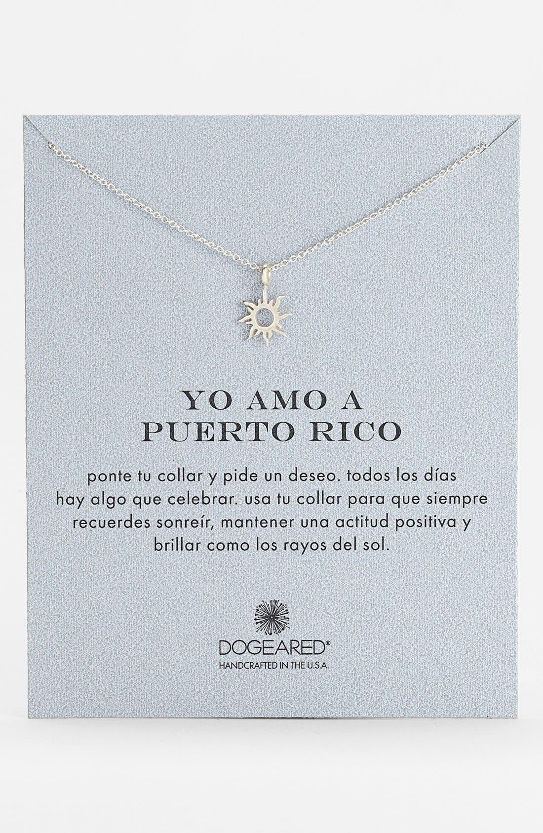 Main Image - Dogeared 'Yo Amo A Puerto Rico' Sun Pendant Necklace