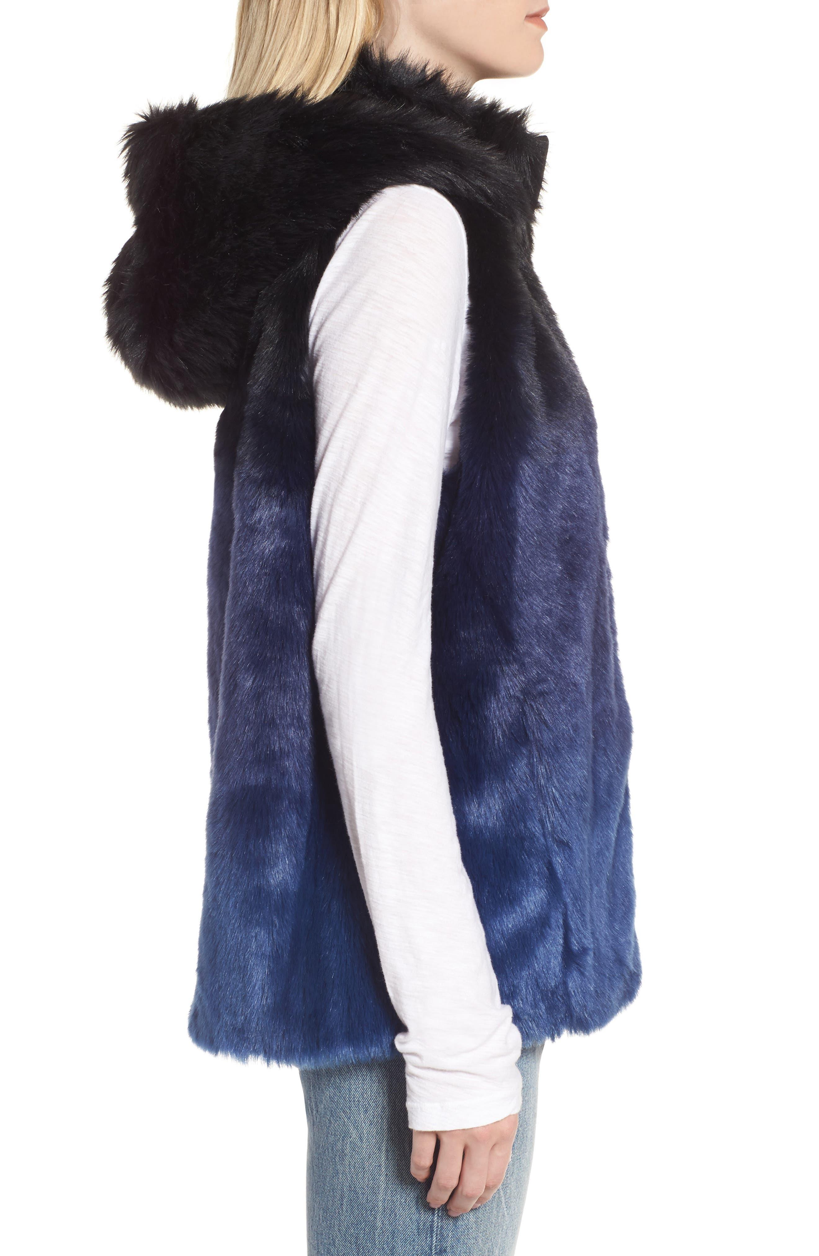 Ryan Ombré Faux Fur Hooded Vest,                             Alternate thumbnail 3, color,                             Blue