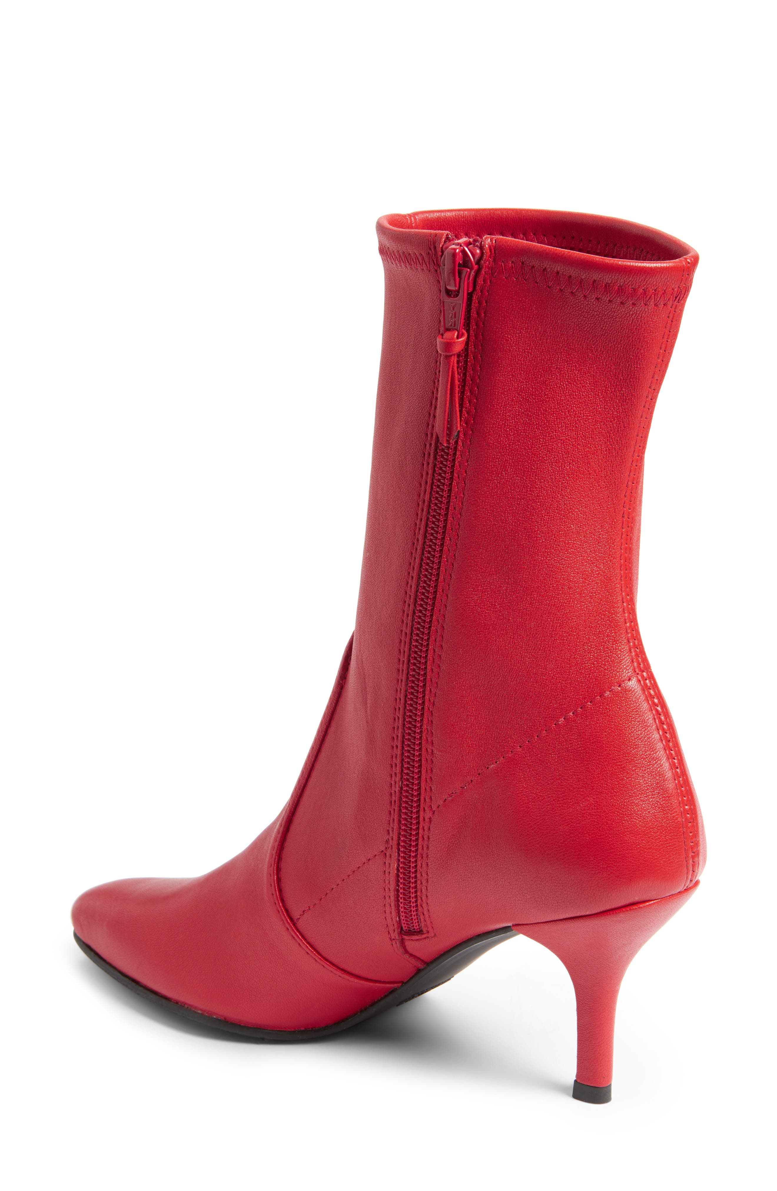 Cling Stretch Bootie,                             Alternate thumbnail 2, color,                             Red Plonge Stretch