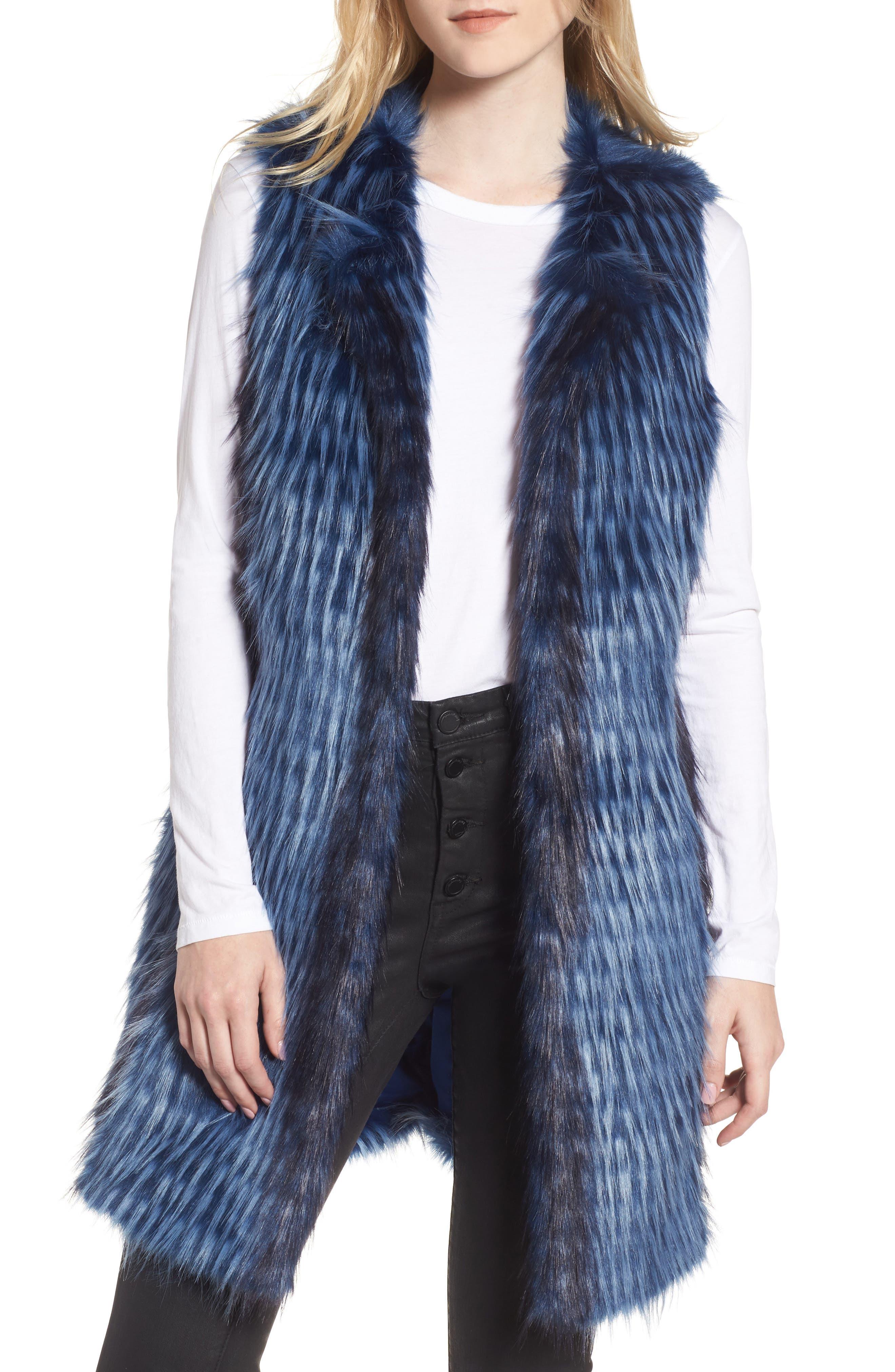 Dion Faux Fur Vest,                         Main,                         color, Blue