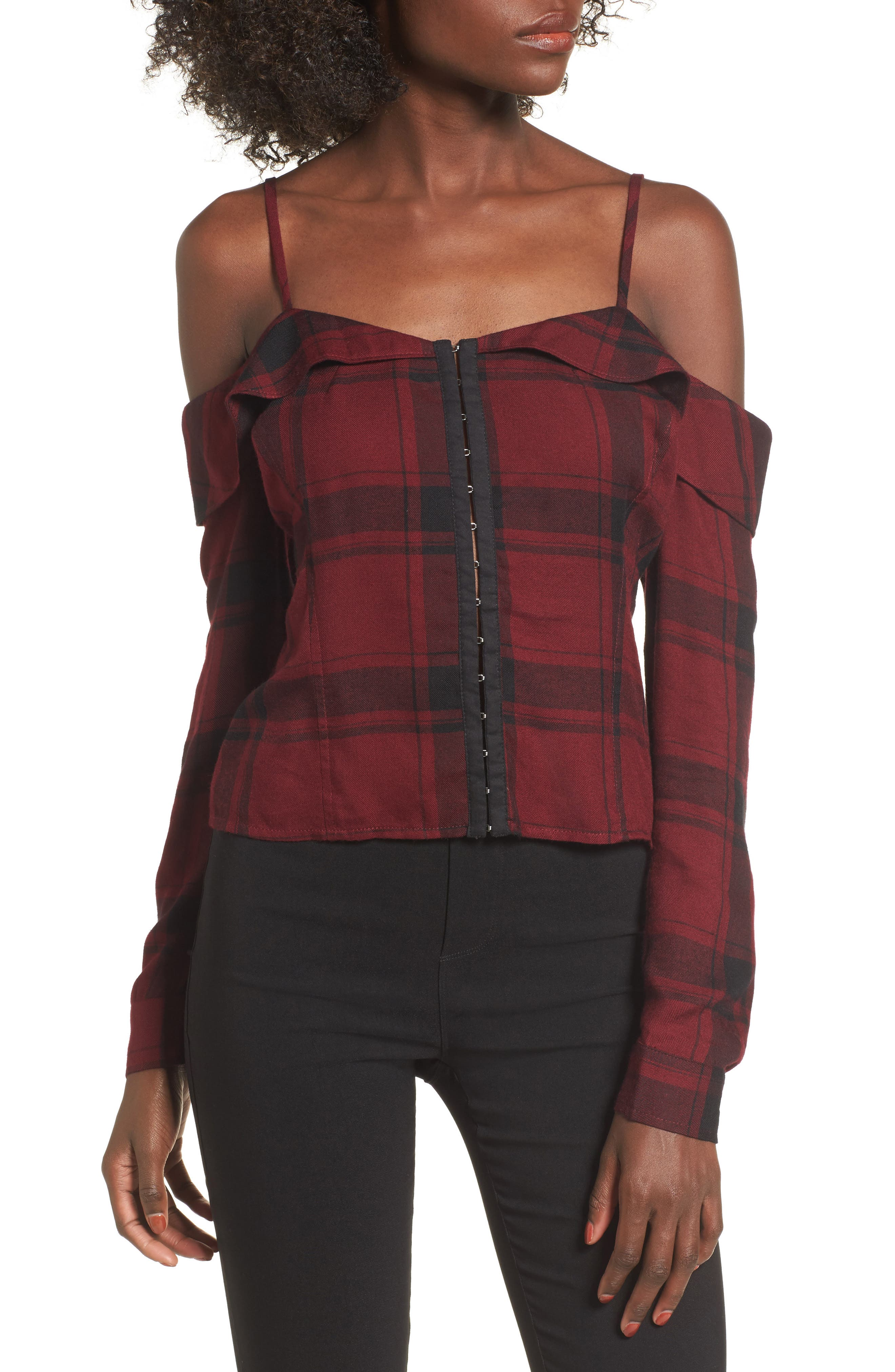 Love, Fire Plaid Cold Shoulder Corset Top